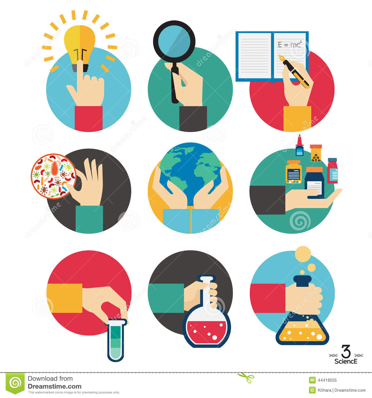 hands with science experiment object icons set stock vector