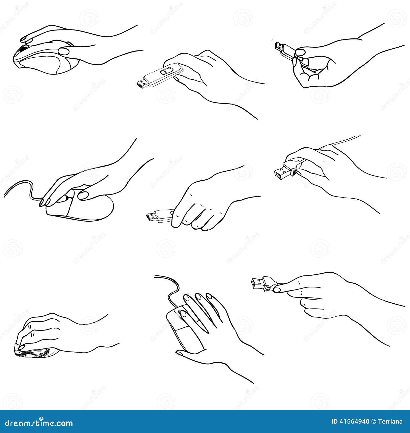 Hands Set. Hand Holding Memory Stick Computering Mouse Plug. Stock Illustration - Illustration ...