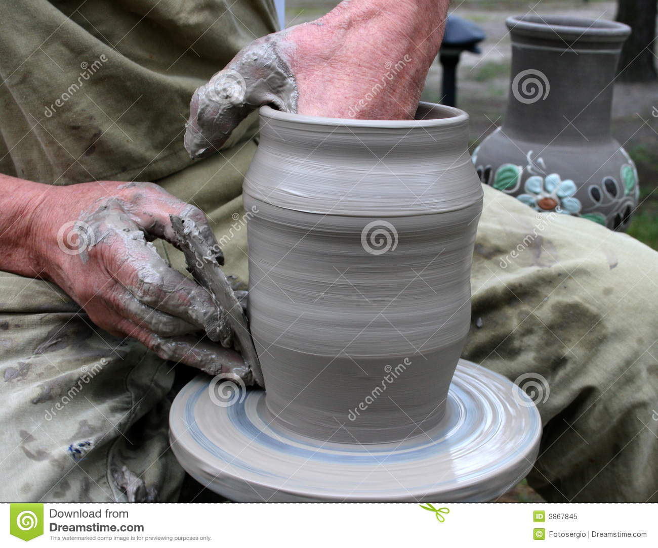 hands shaping clay on potter u0026 39 s wheel royalty free stock photo