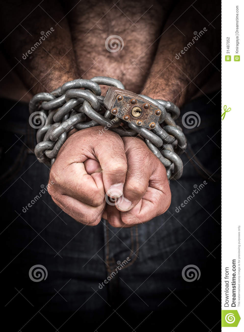hands of a shirtless man chained with a chain and a padlock stock photo image of background. Black Bedroom Furniture Sets. Home Design Ideas