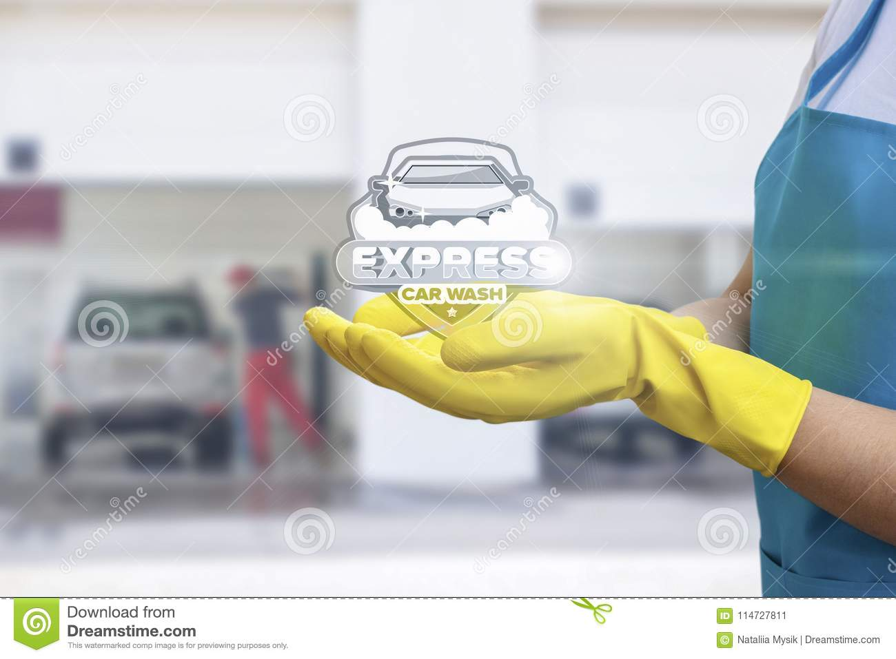 In The Hands Of The Shows Service Car Wash Stock Image Image Of