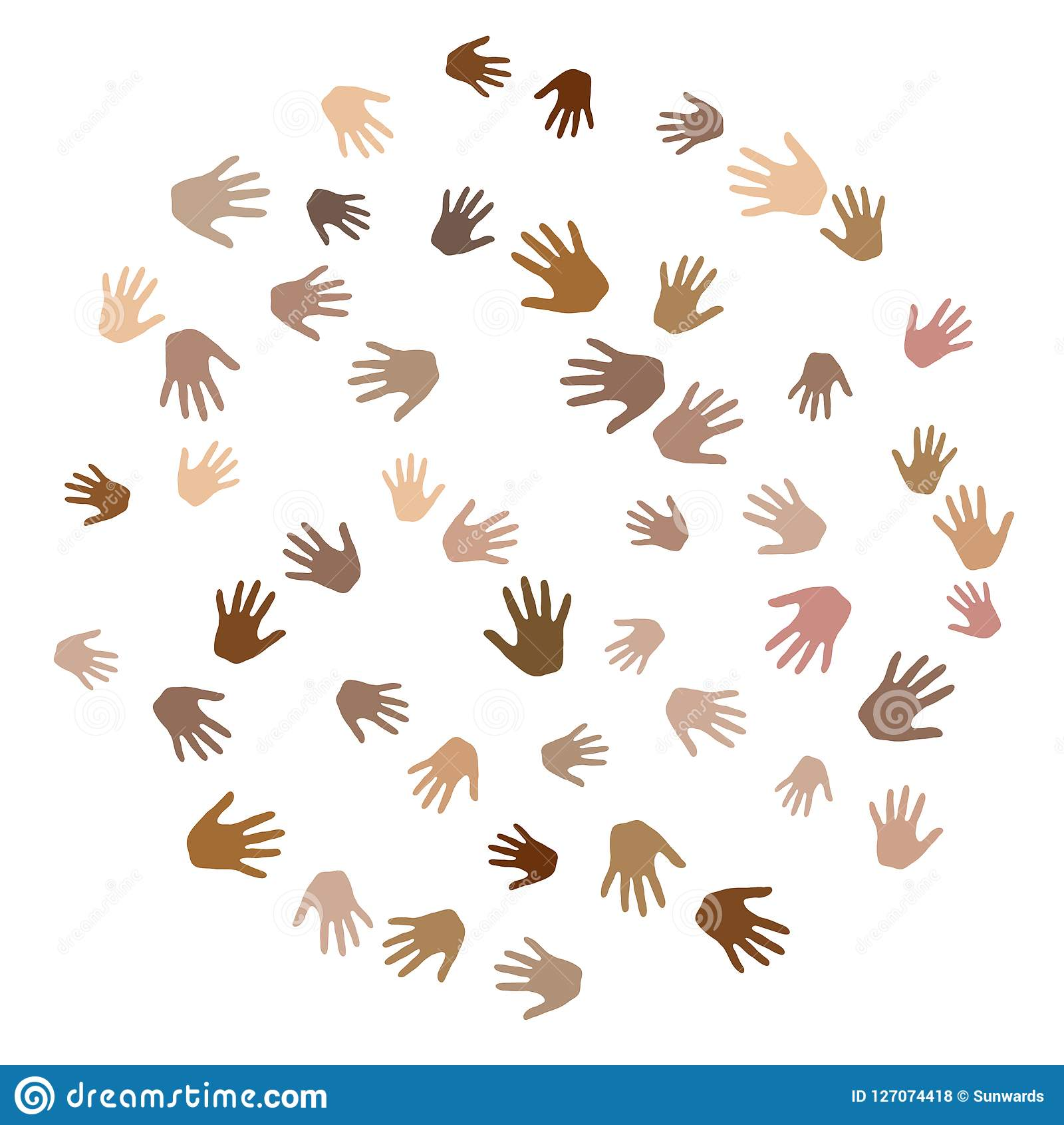Hands with skin color diversity vector background. Solidarity concept icons, social, national, racial issues symbols.
