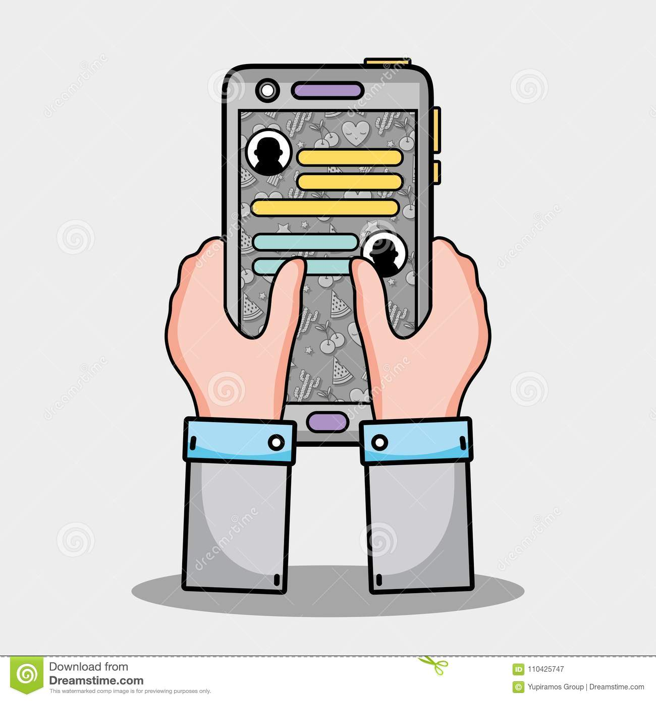 Hands With Smartphone Whatsapp Chat Message Stock Vector