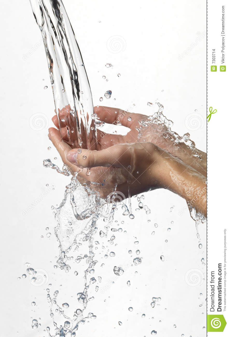 Hands and stream of water.