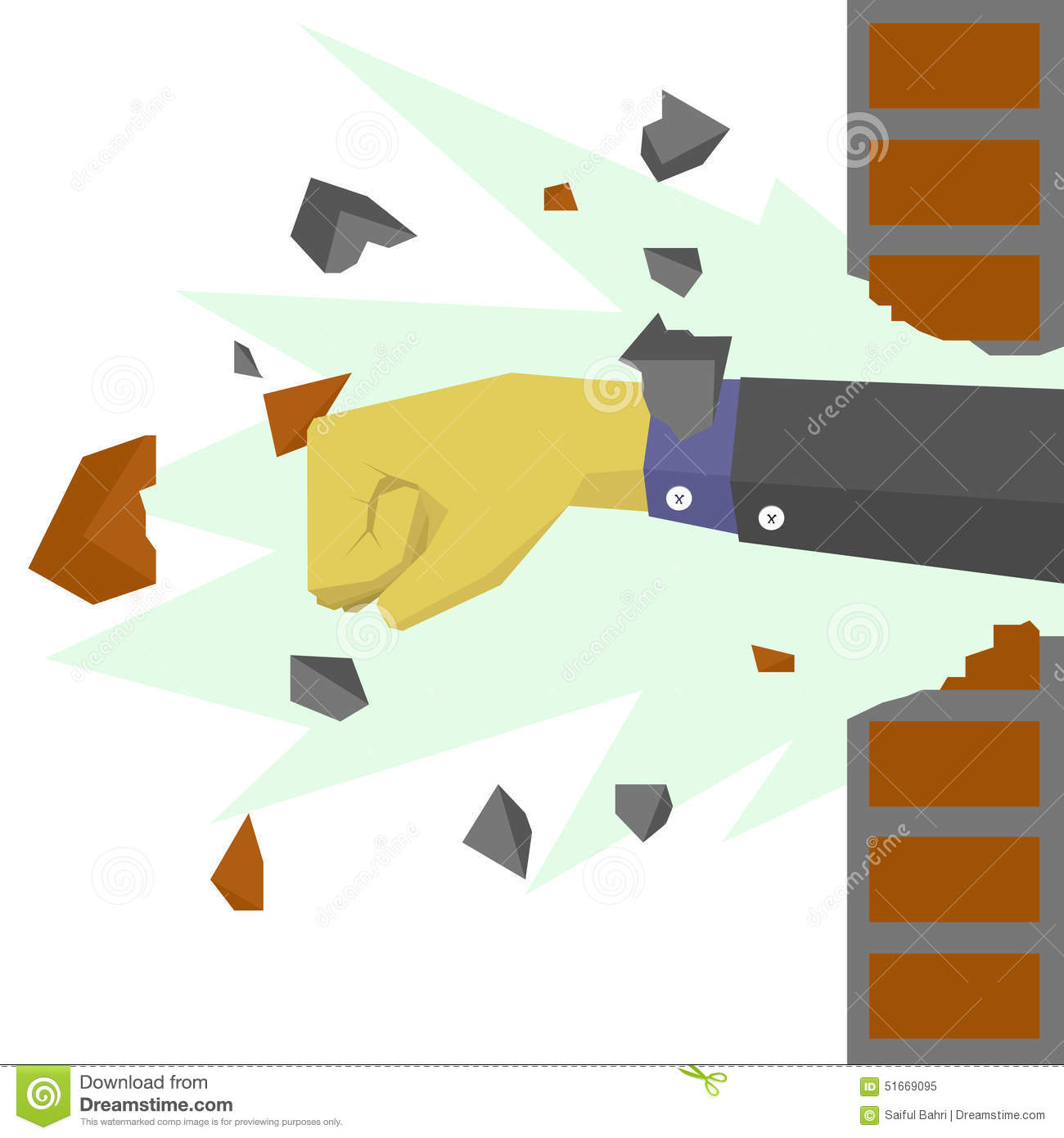 Hands With Suit Destroy The Wall Stock Vector - Image ...