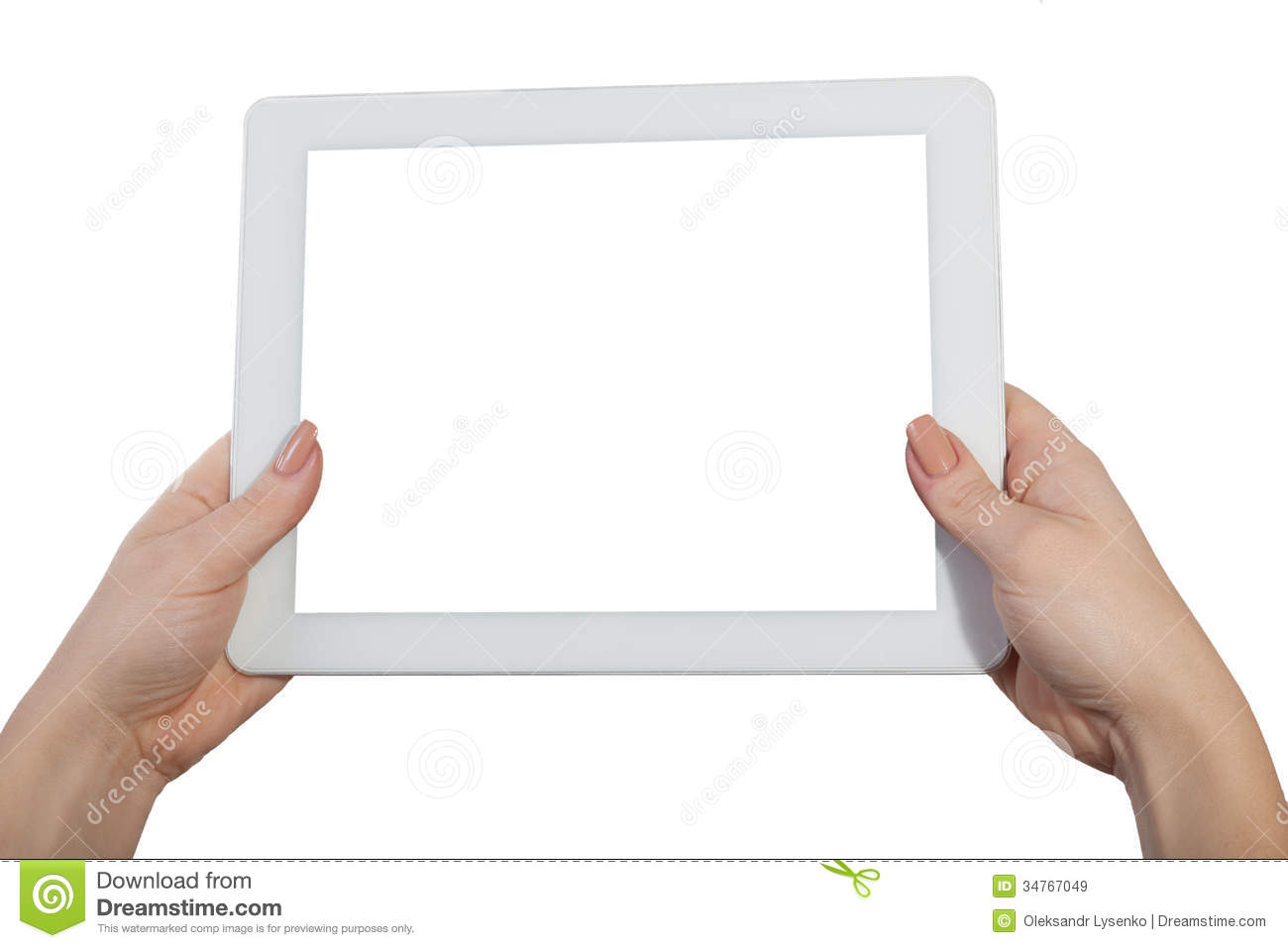 Hands With A Tablet Isolated Royalty Free Stock Images