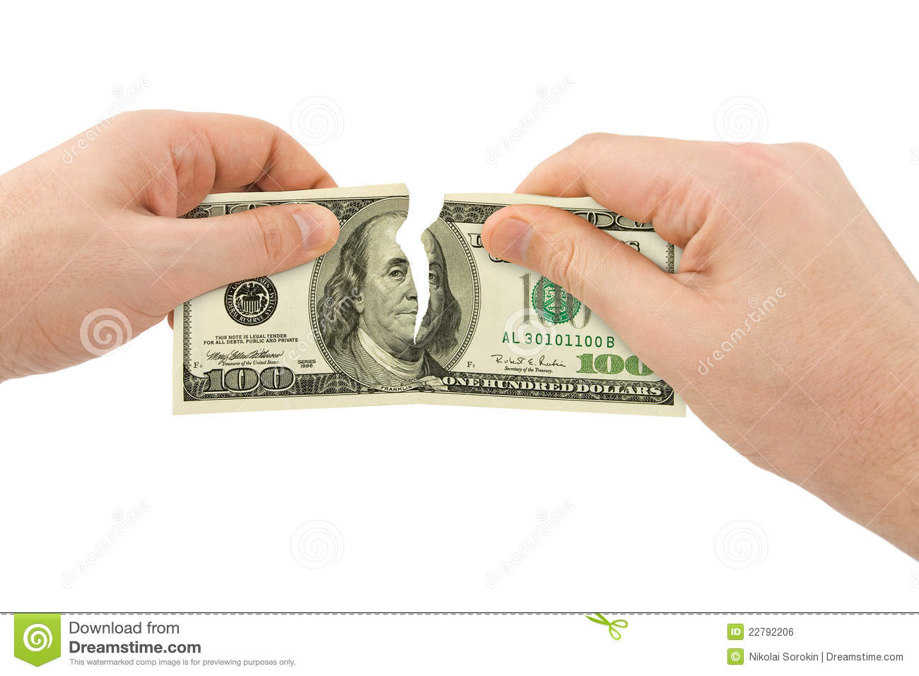 Hands Tear Money Royalty Free Stock Image - Image: 22792206
