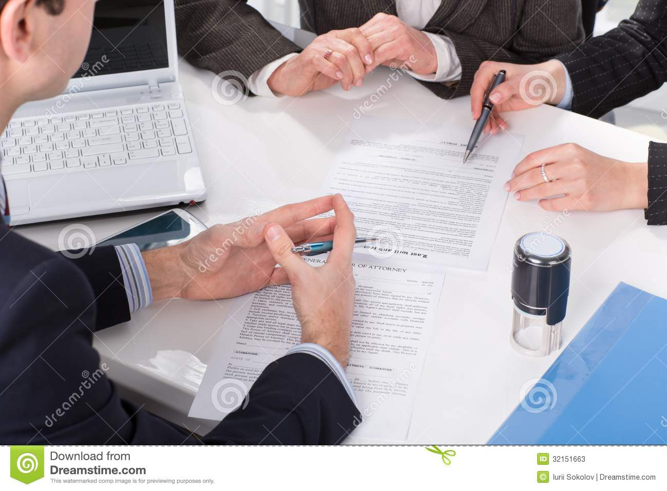 Hands Three People Signing Documents Stock S