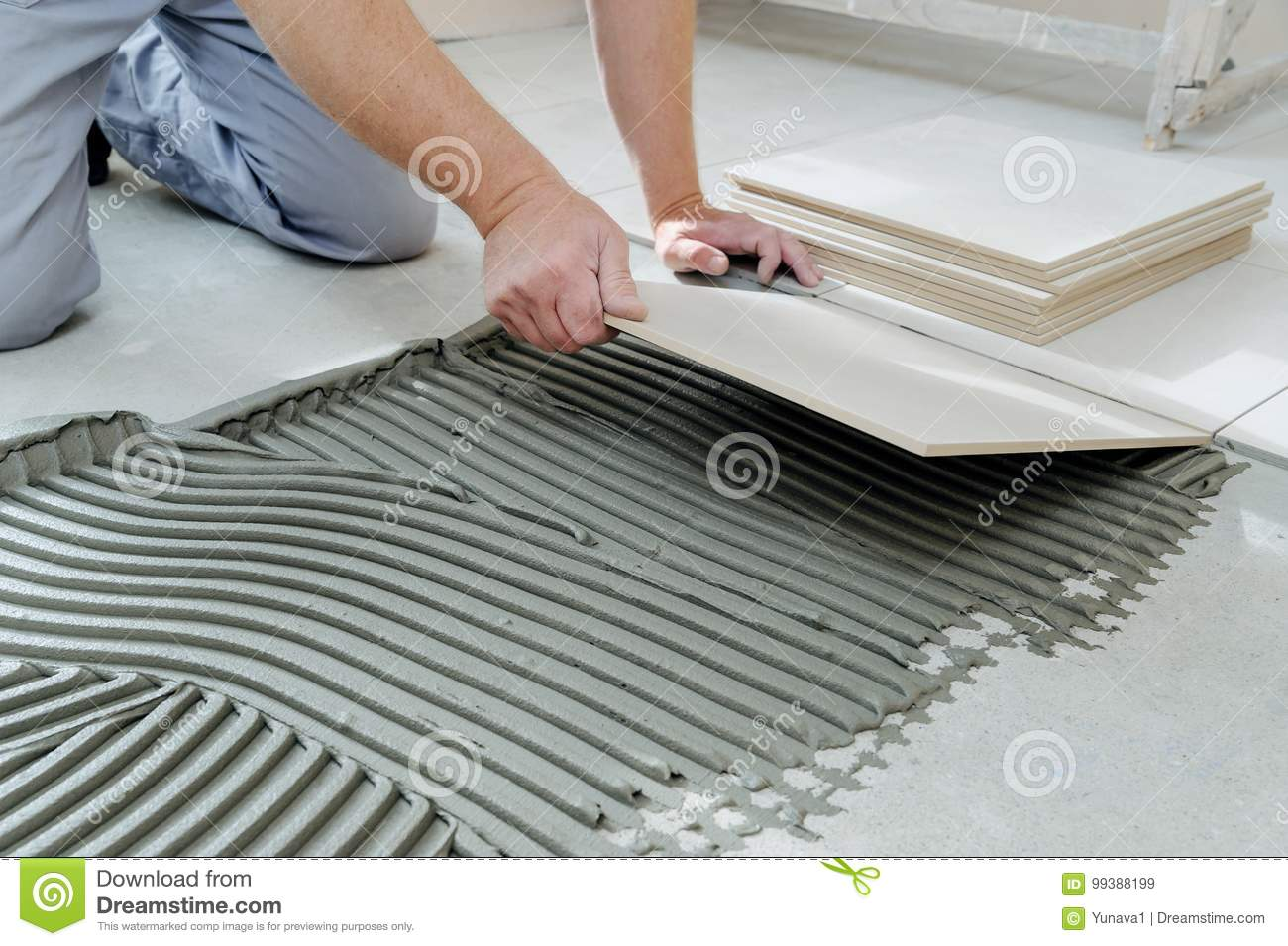 Laying Ceramic Tiles Stock Image Image Of Building 99388199