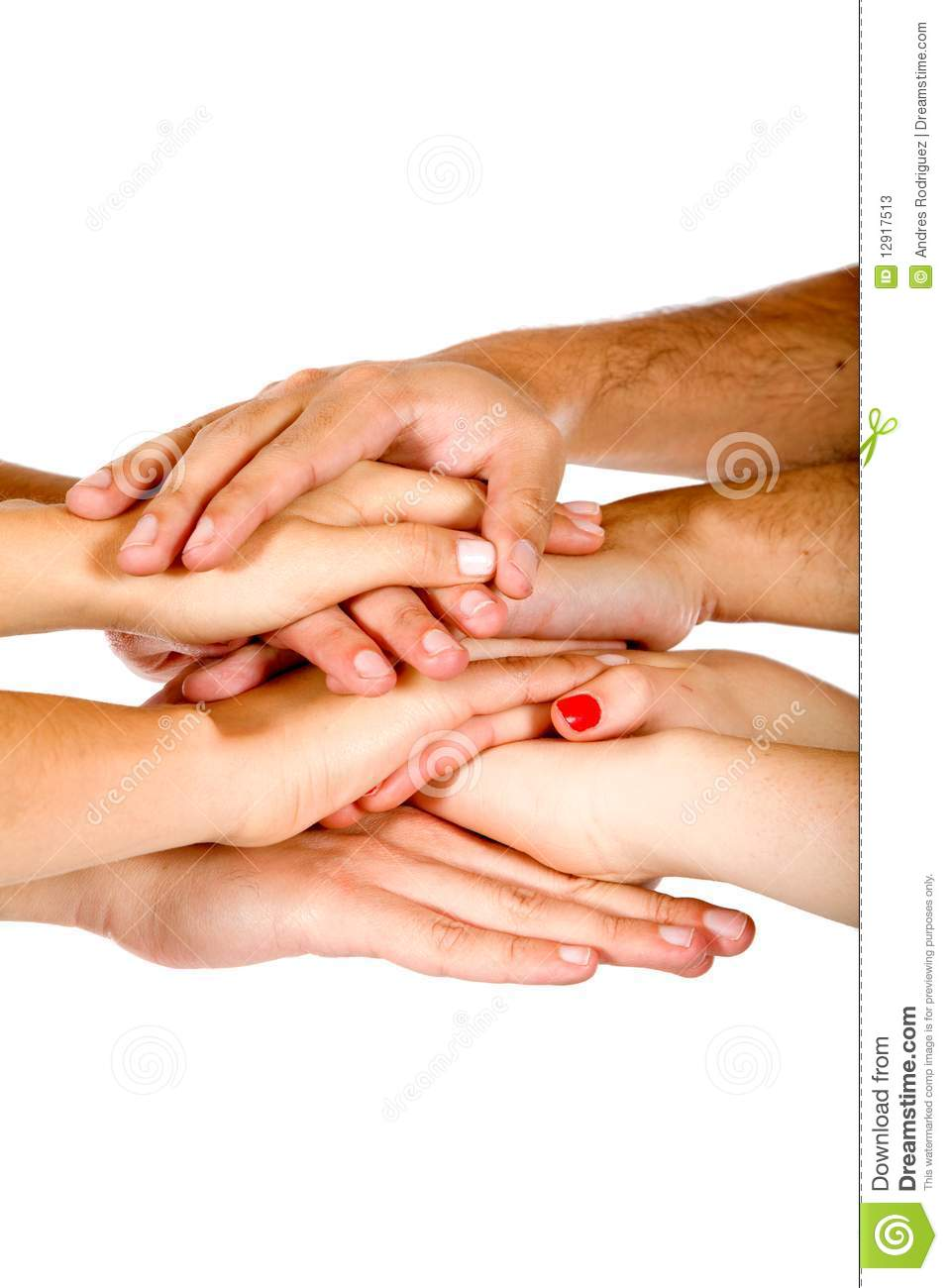 People with hands together isolated over a white background -teamwork ...