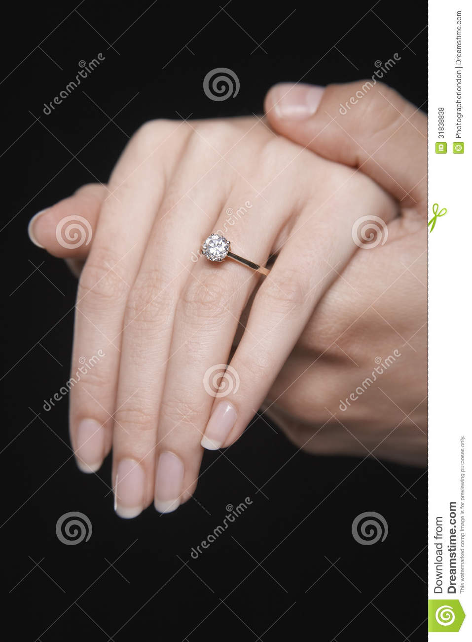 Hands Together With Woman\'s Engagement Ring Stock Photo - Image of ...