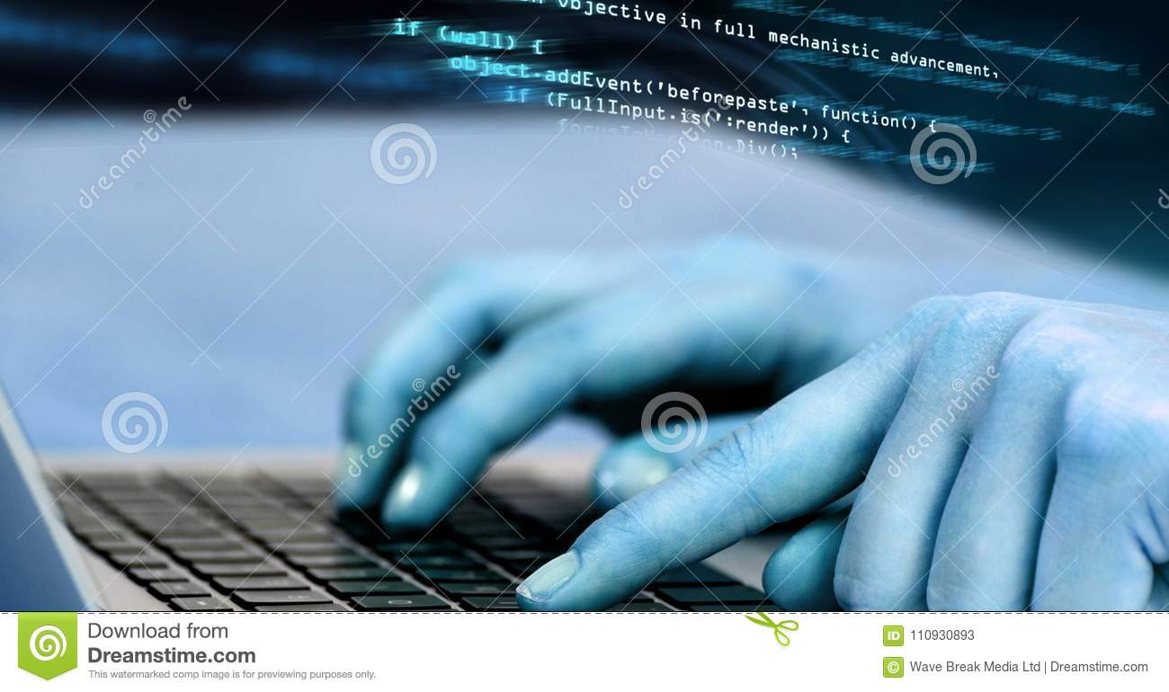 Hands typing coding text stock image  Image of electronic