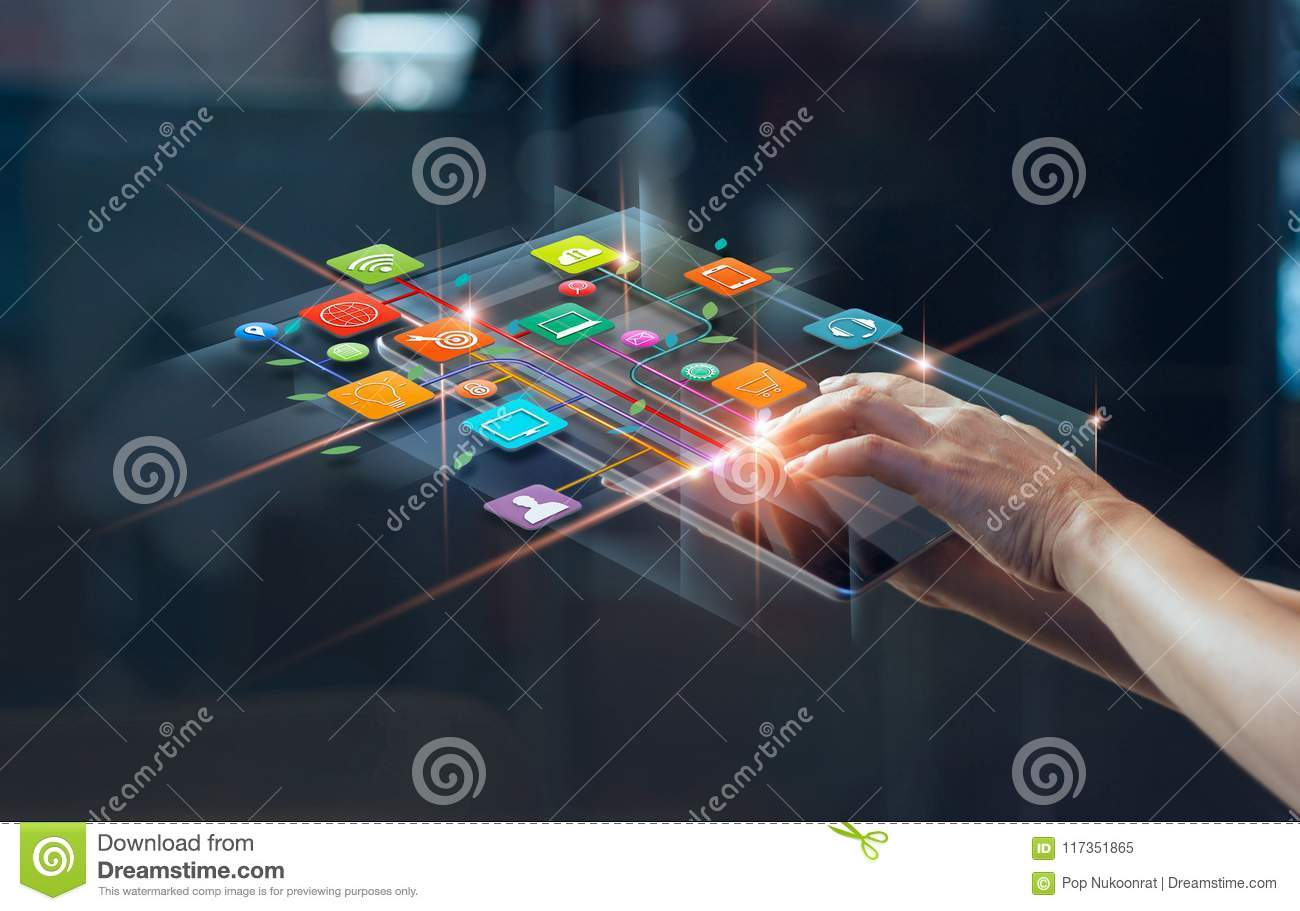 Hands using mobile payments, Digital marketing, Banking network.