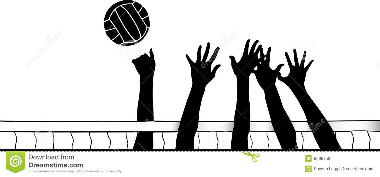 Illustration Abstract Volleyball Player Silhouette: Hands At Volleyball Net Stock Vector. Illustration Of