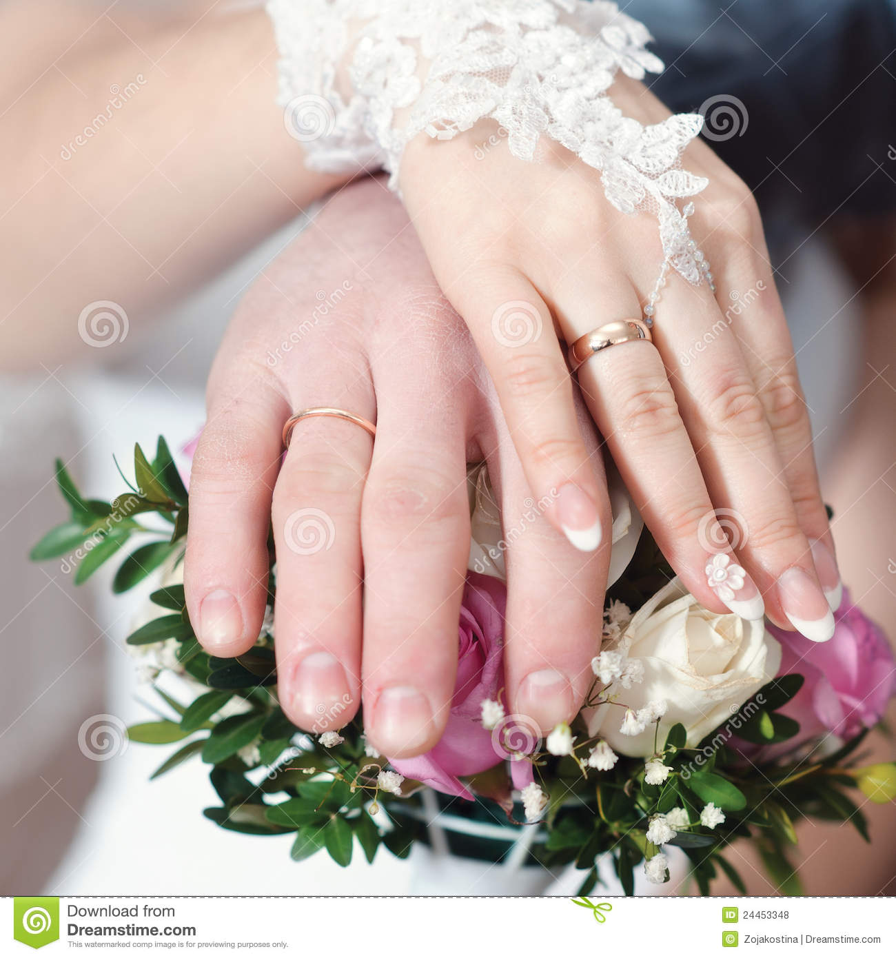 Hands Wearing Wedding Rings Stock Photo - Image of down, fashion ...