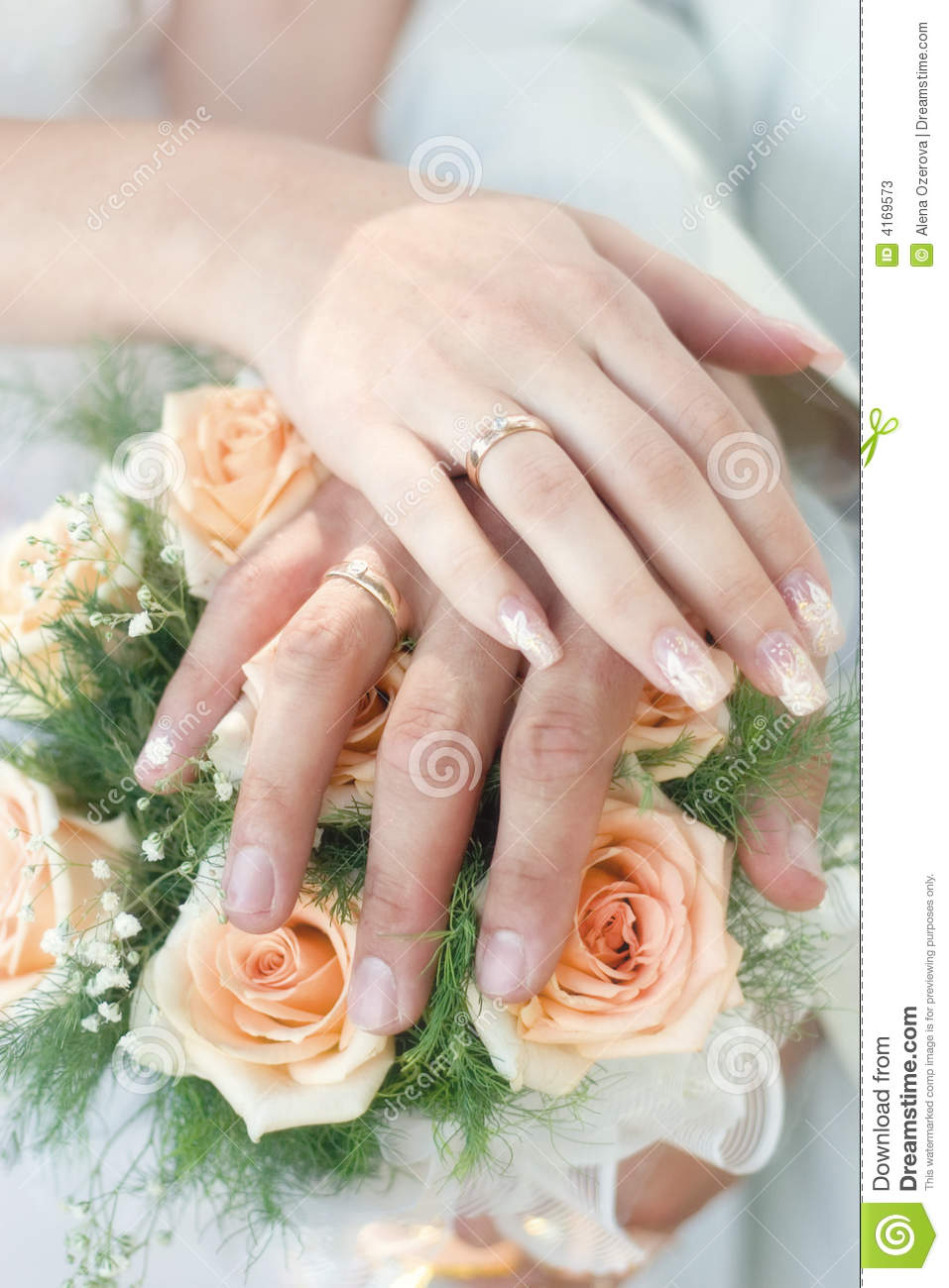 Hands With Wedding Rings Stock Image Image Of Blossom 4169573