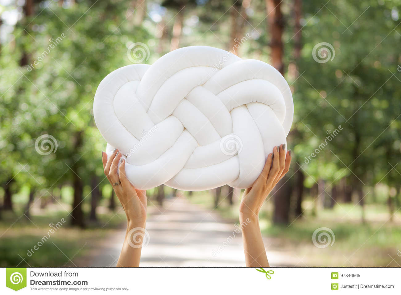 Hands With White Knot Pillow Stock Image Image Of Decoration Design 97346665