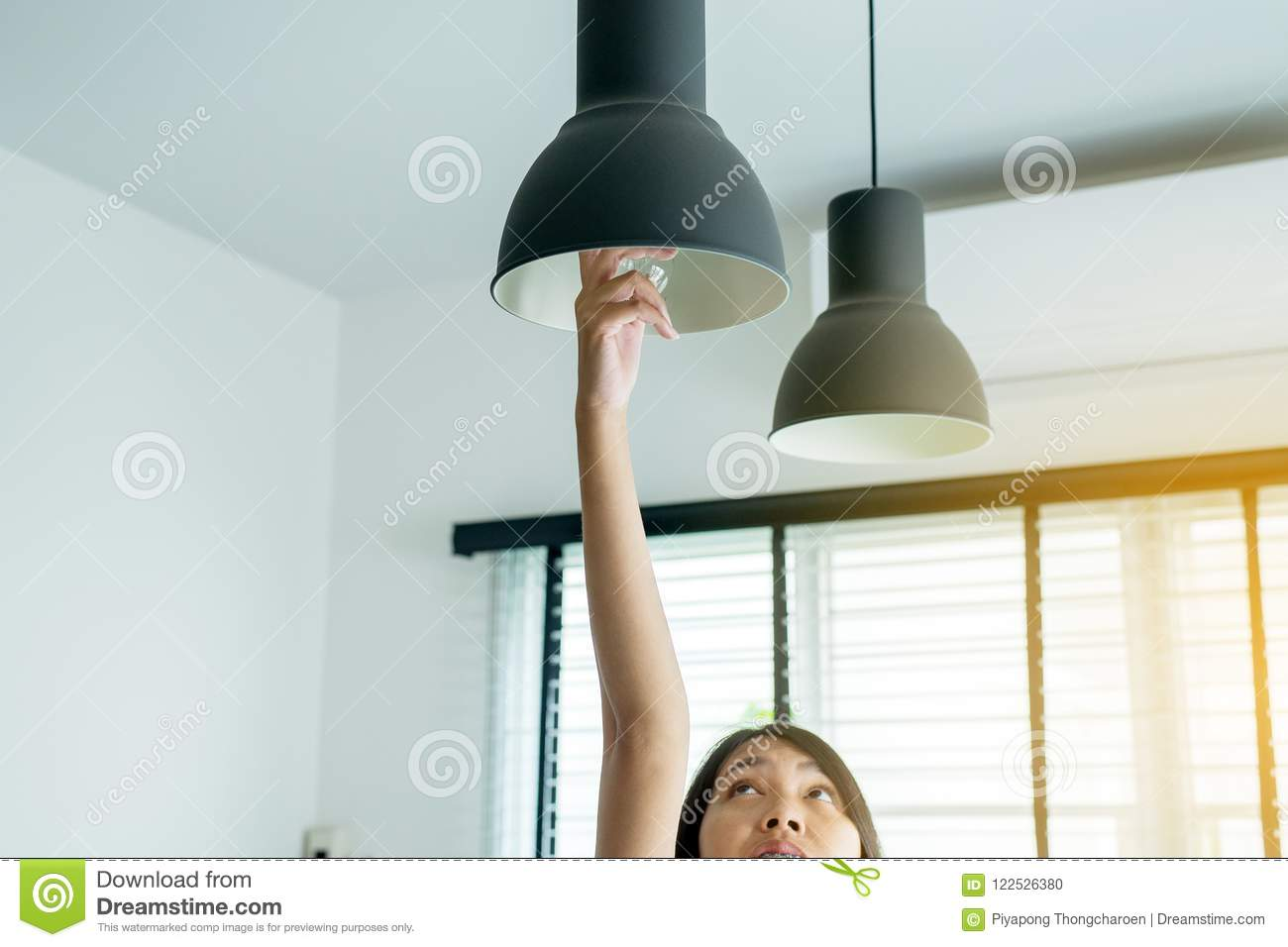 Hands Woman Changing With New LED Lamp Light Bulb Stock Photo ...