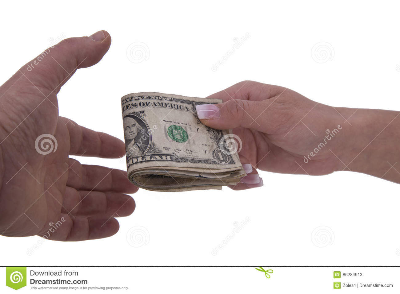 Hands of woman and man with dollars