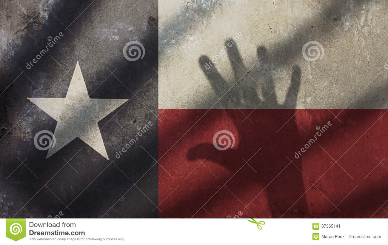 Handschaduw op Texas Flag