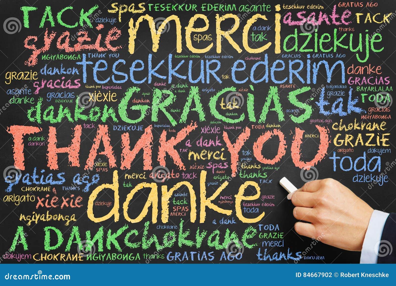 Handschrift danken Ihnen in vielen Sprachen