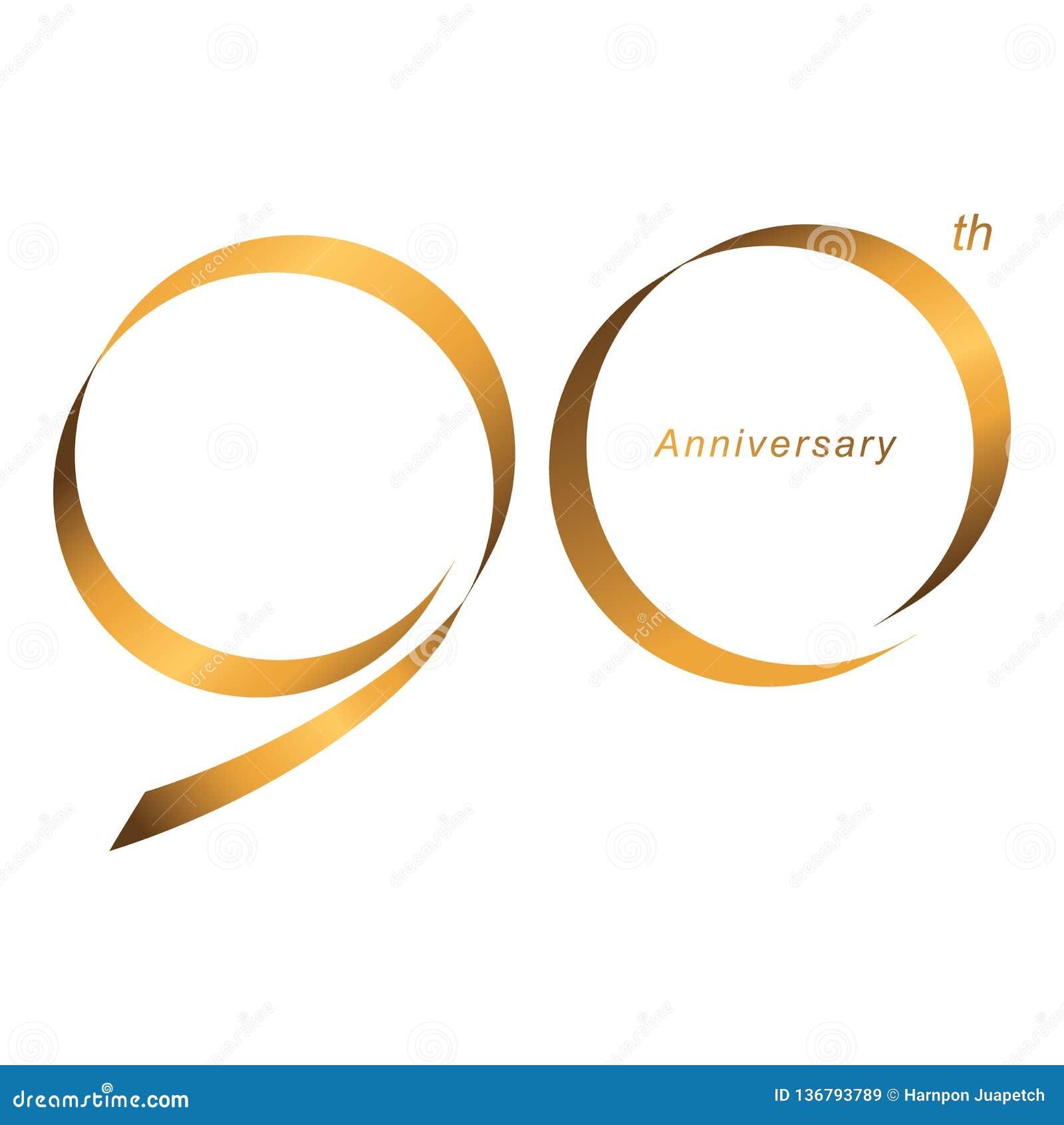 Handschrift, feiernd, Jahrestag des 90. Jahrjahrestages der Zahl