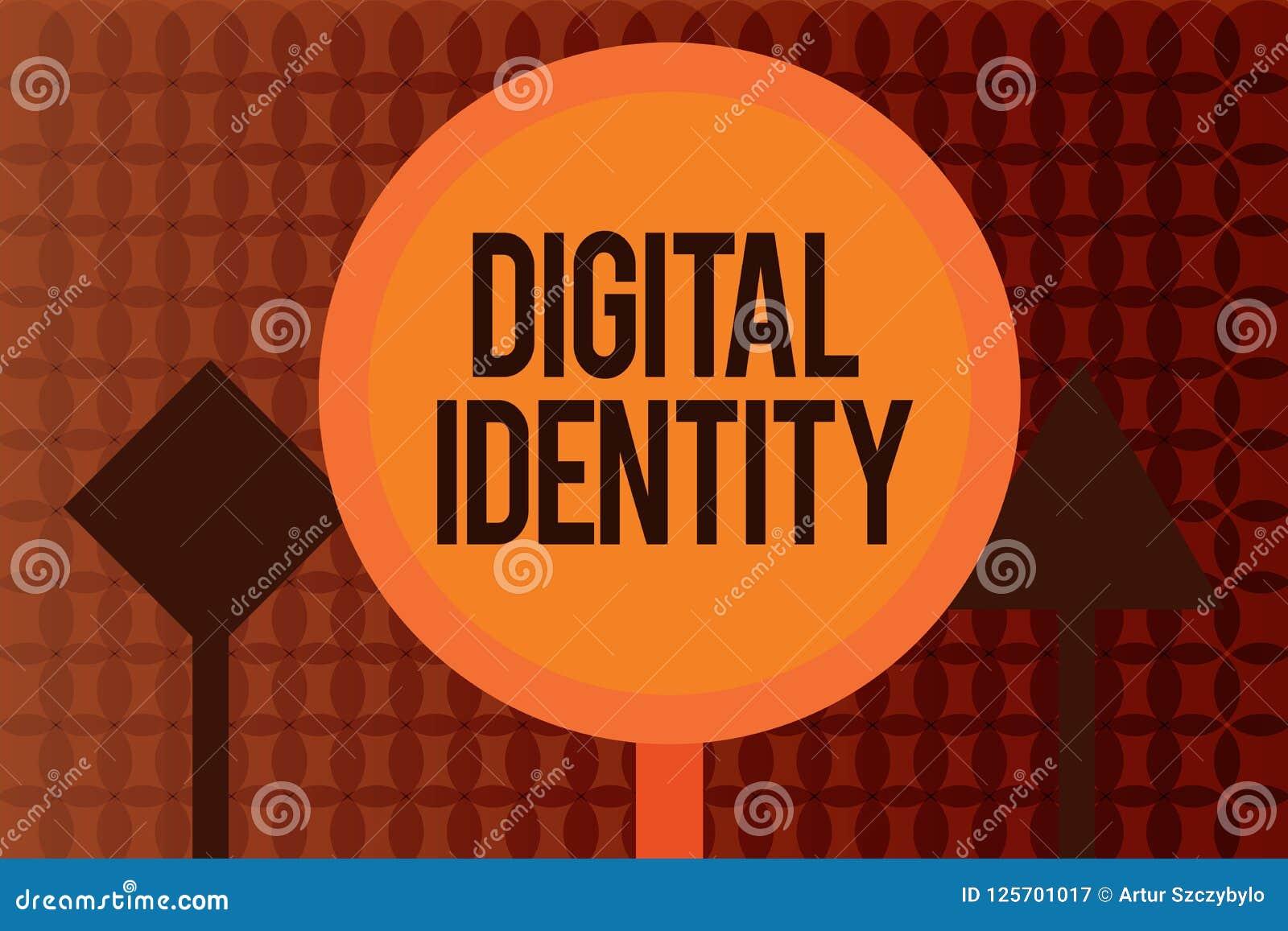 Handschriftstext, der Digital-Identität schreibt Konzeptbedeutungsinformationen über das Wesen benutzt durch Computer, um Mittel