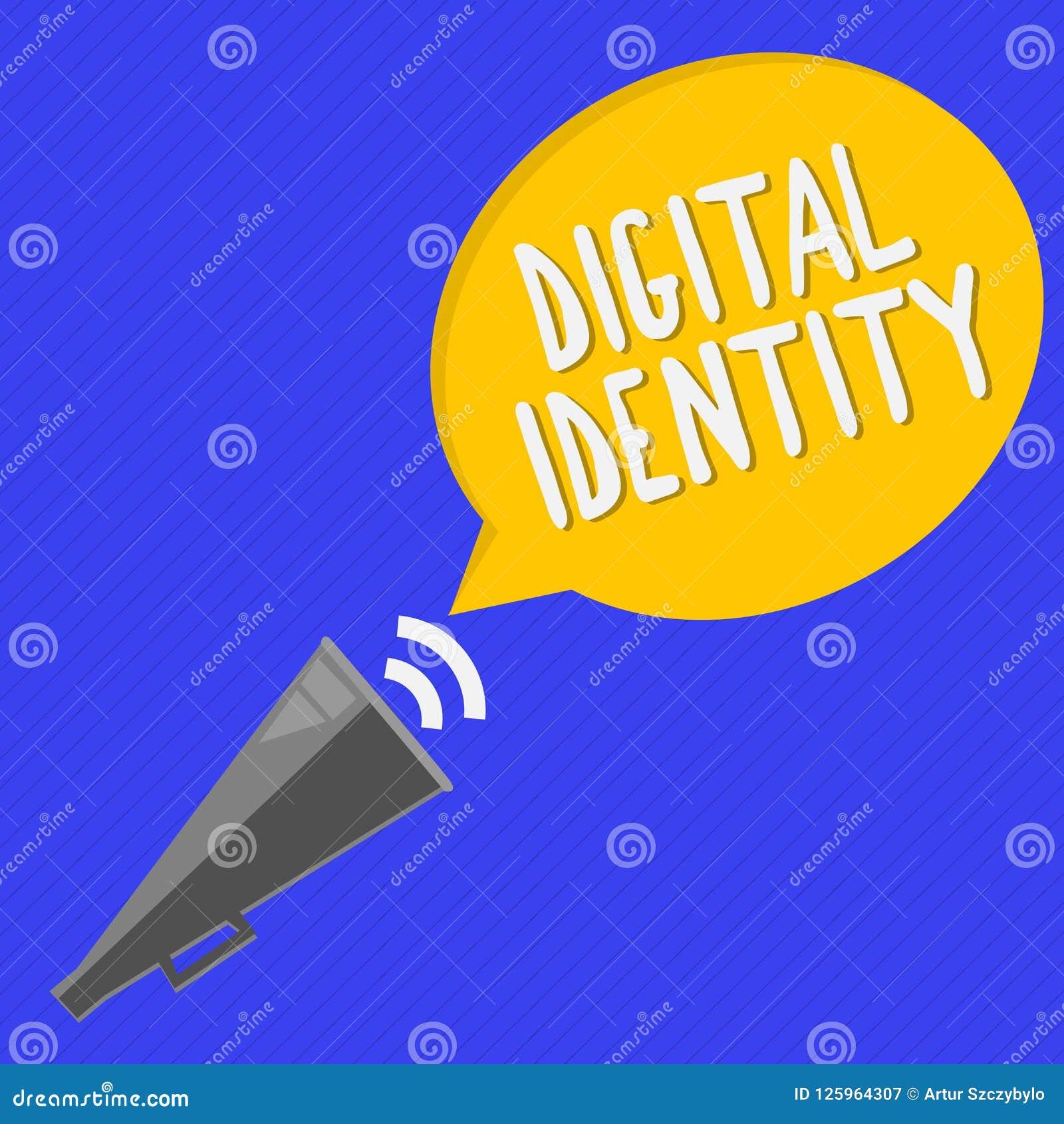 Handschriftstext Digital-Identität Konzeptbedeutungsinformationen über das Wesen benutzt durch Computer, um Mittel darzustellen