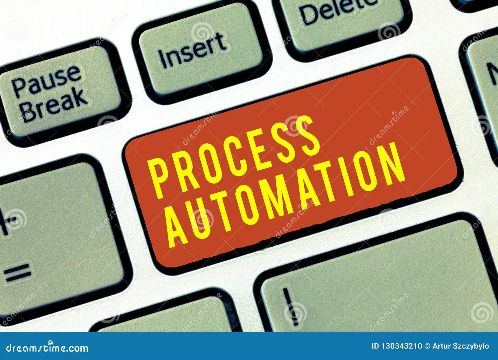 Handschriftstext Prozessautomatisierung Konzeptbedeutung Umwandlungs-stromlinienförmiges Roboter, zum von Redundanz zu vermeiden