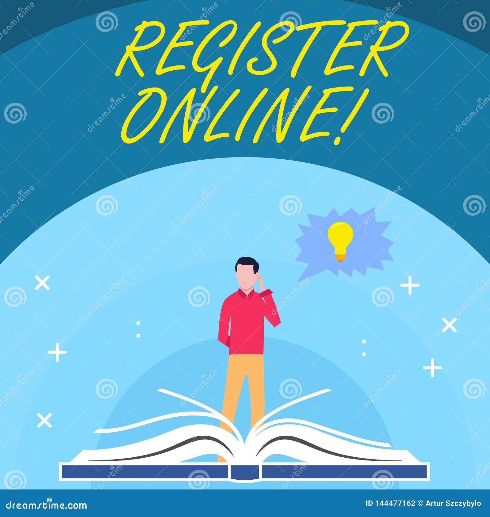 Handschriftstext registrieren online Konzept, das amtliche Börsennotierung oder Rekordvertretung bedeuten oder Sachen in Netz od