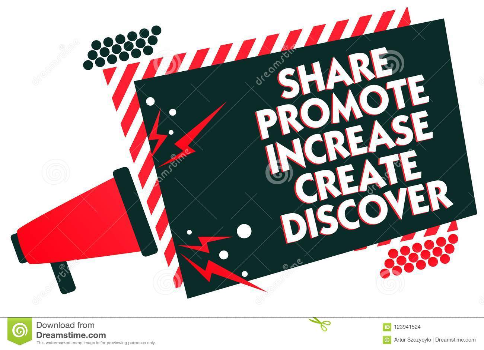 Handschriftstext-Schreiben Anteil fördern Zunahme schaffen entdecken Konzeptbedeutung Marketing-Inspirationsmotivation Megaphon l