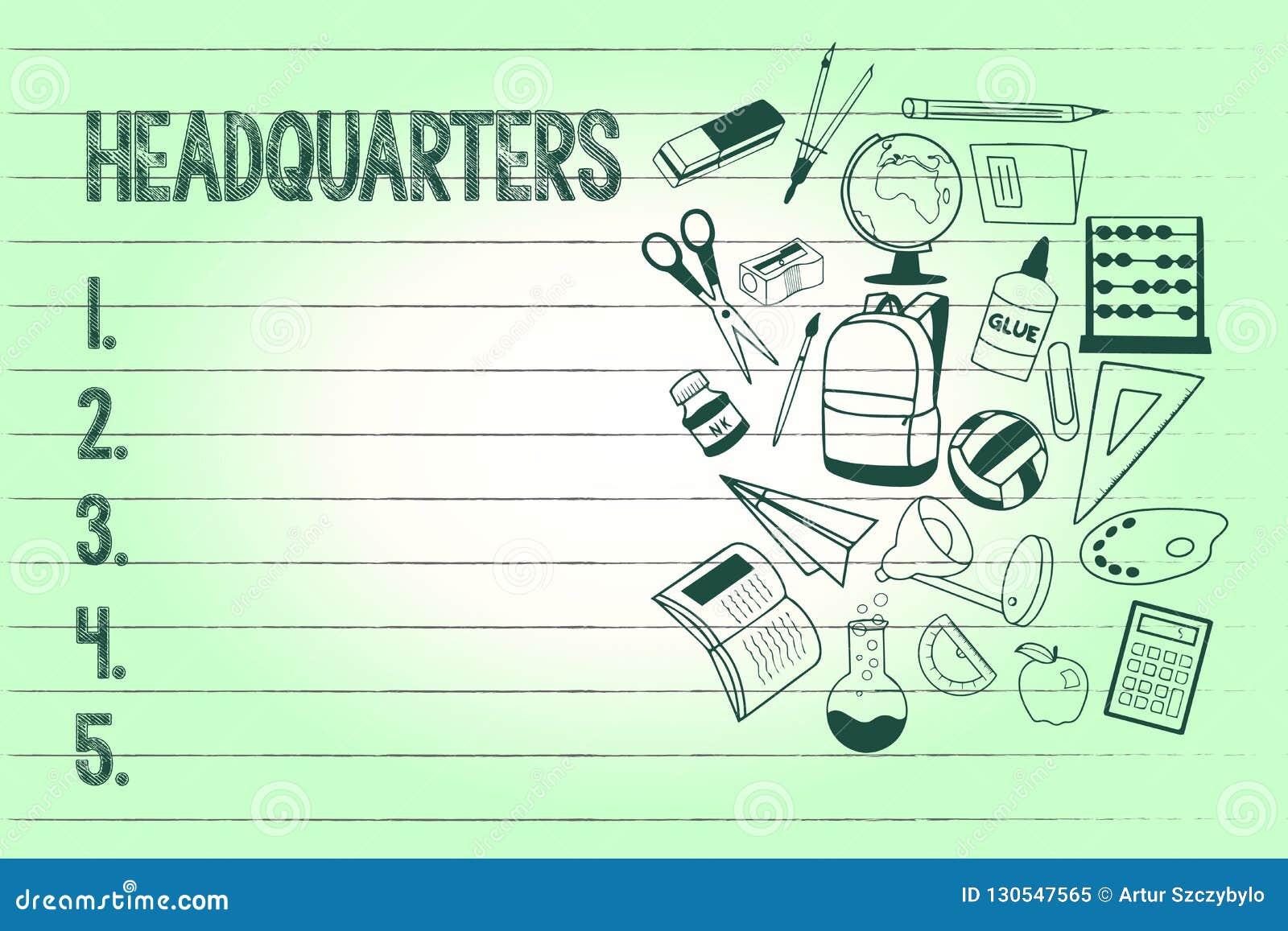 Handschriftstext-Schreiben Hauptsitze Konzept, das Haupt- Büros Voraussetzungen besetzt durch ein Militär-comanalysisder bedeutet