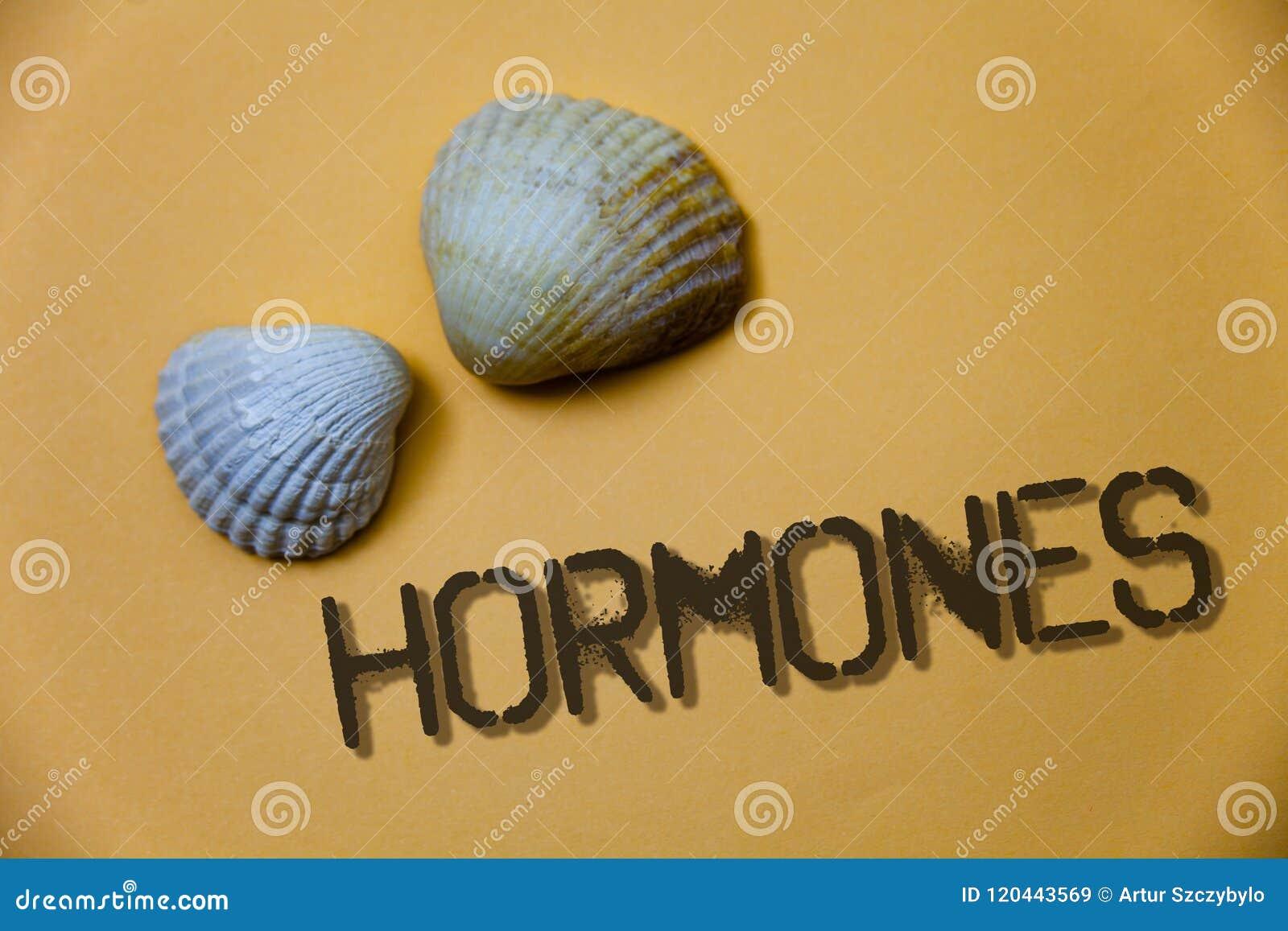 Handschriftstext-Schreiben Hormone Das Konzept, das regelnde Substanz bedeutet, produzierte in einem Organismus, um Zellenschmutz