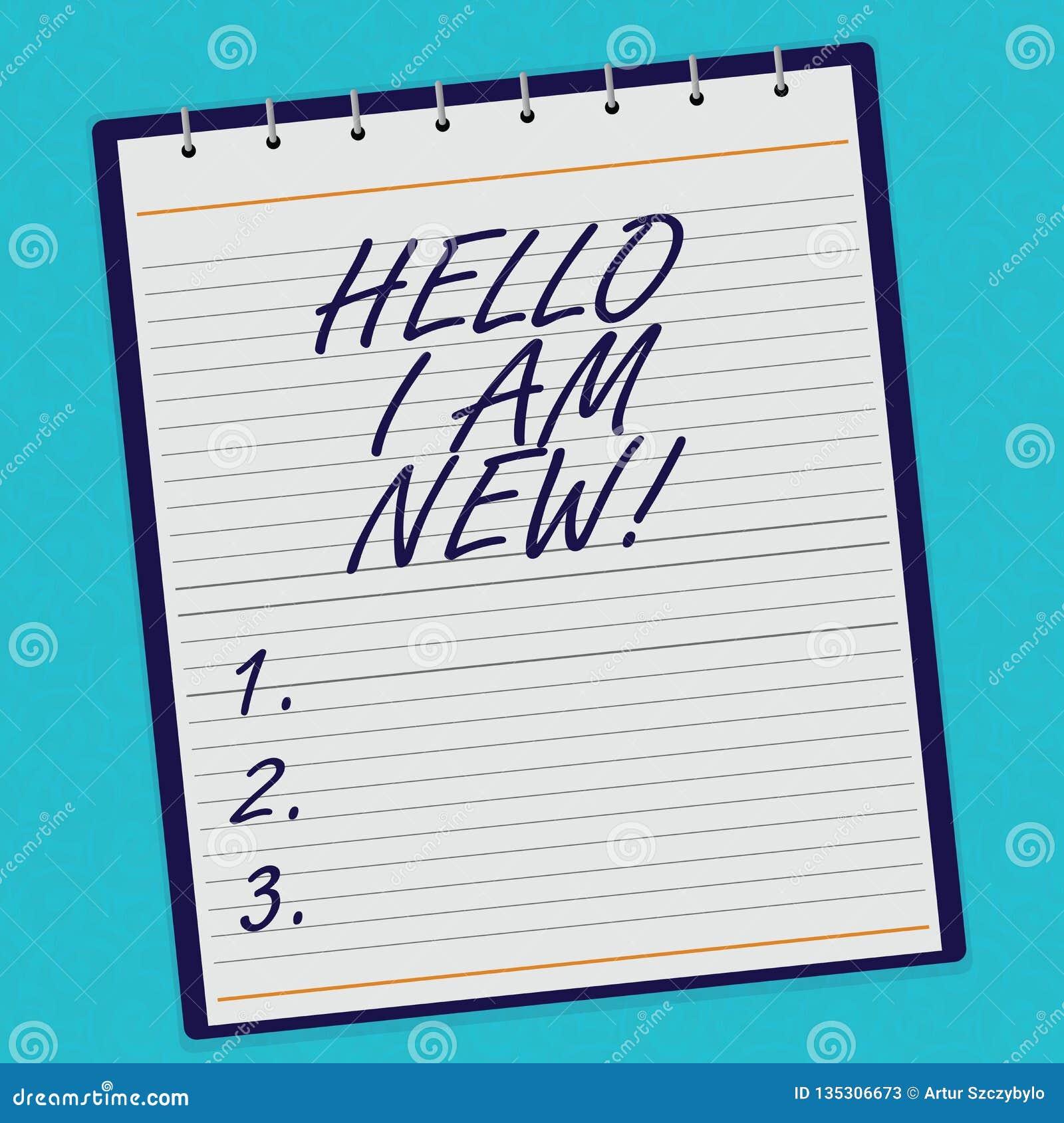 Handschrifttekst Hello ben ik Nieuw Het concept die Introducerend aan het onbekende tonen newbie in het team voerde Spiraal betek
