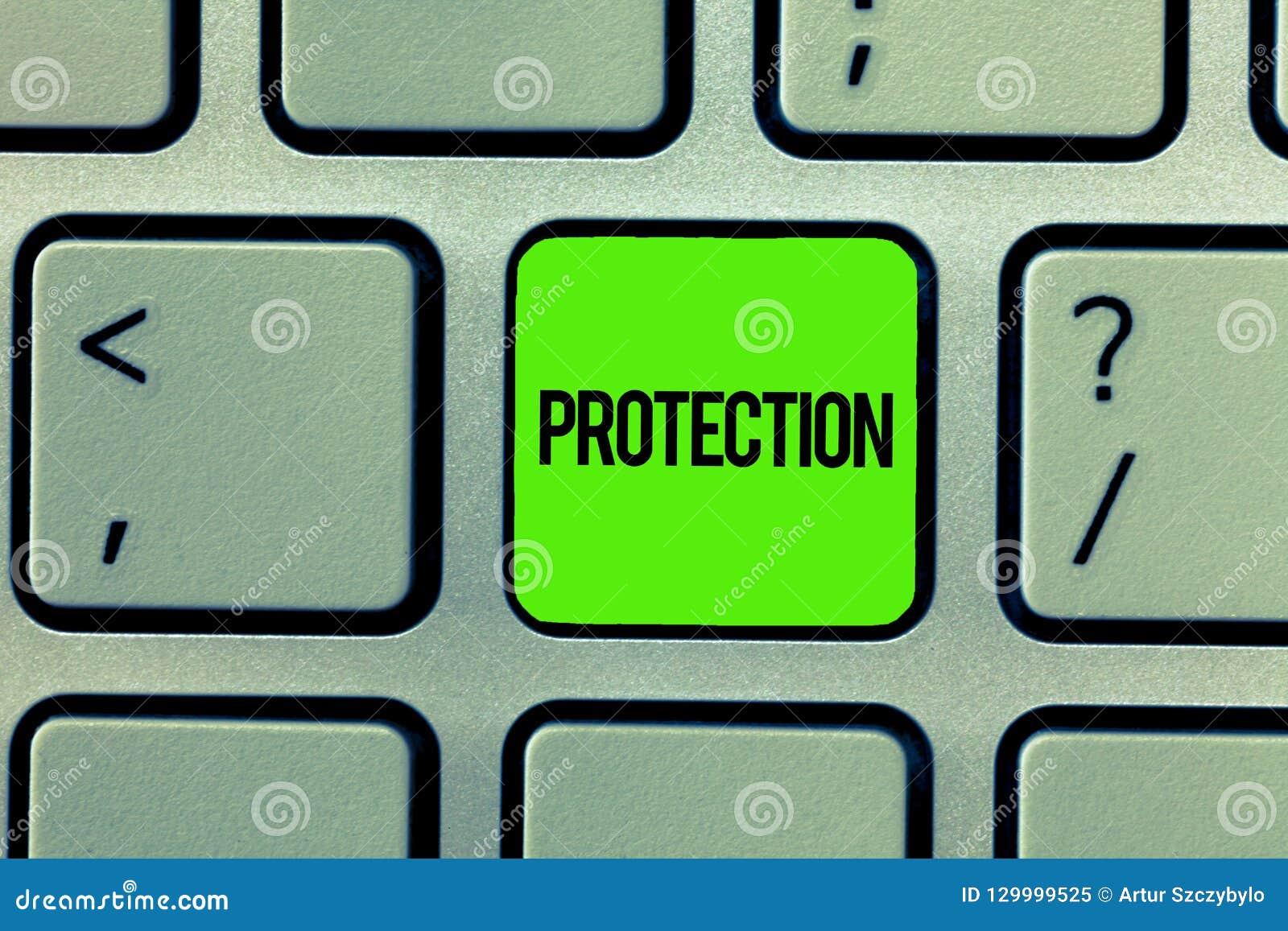 Handschrifttekst het schrijven Bescherming Het concept die Staat van wordt beschermd gehouden tegen het gevaar van het kwaadverli