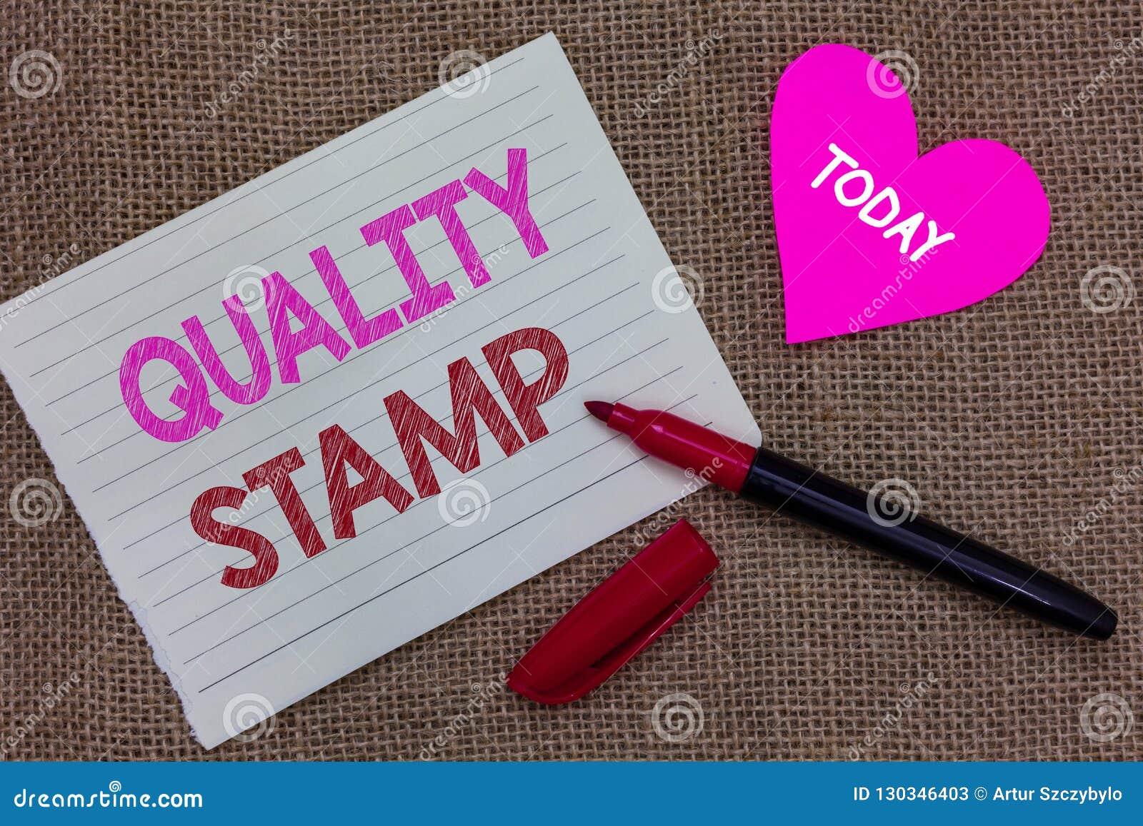 Handschrifttekst het schrijven Kwaliteitszegel Concept die Bekrachtiging Goede Indruk Gekwalificeerde Overgegaane Inspectie betek