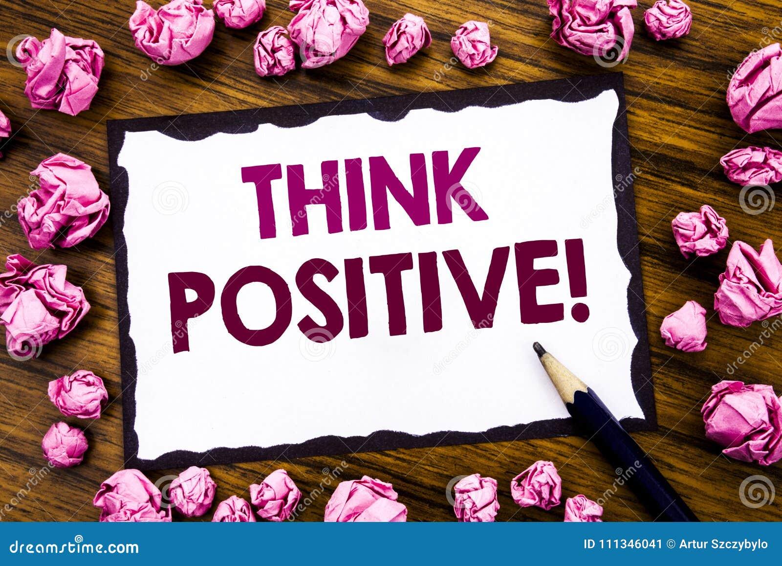 Handschrifttexttitel-Inspirationsvertretung denken Positiv Geschäftskonzept für die Bestimmtheits-Haltung geschrieben auf klebrig