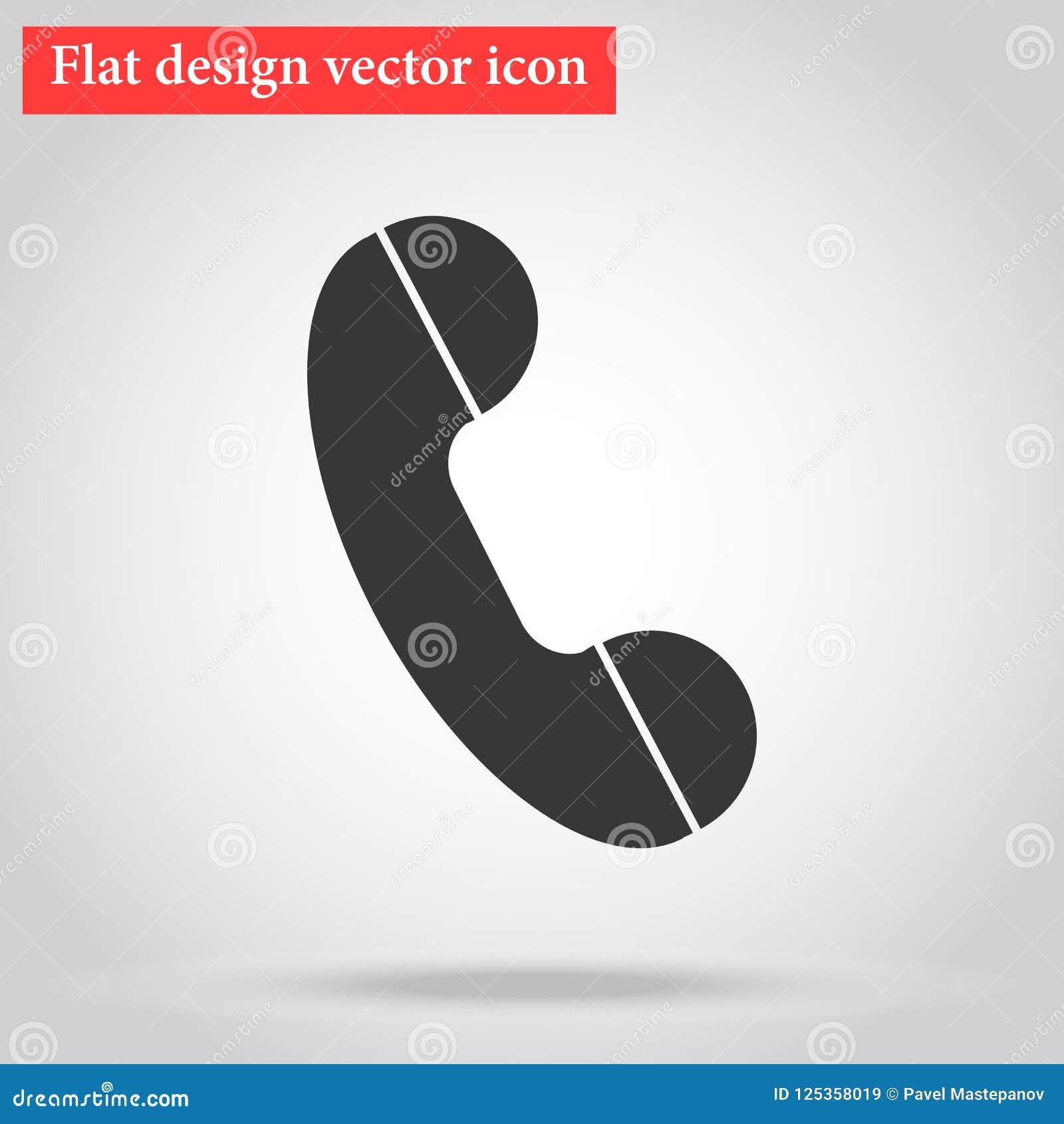 Handset Of The Landline Home Phone Icon Flat Design Vector Illu