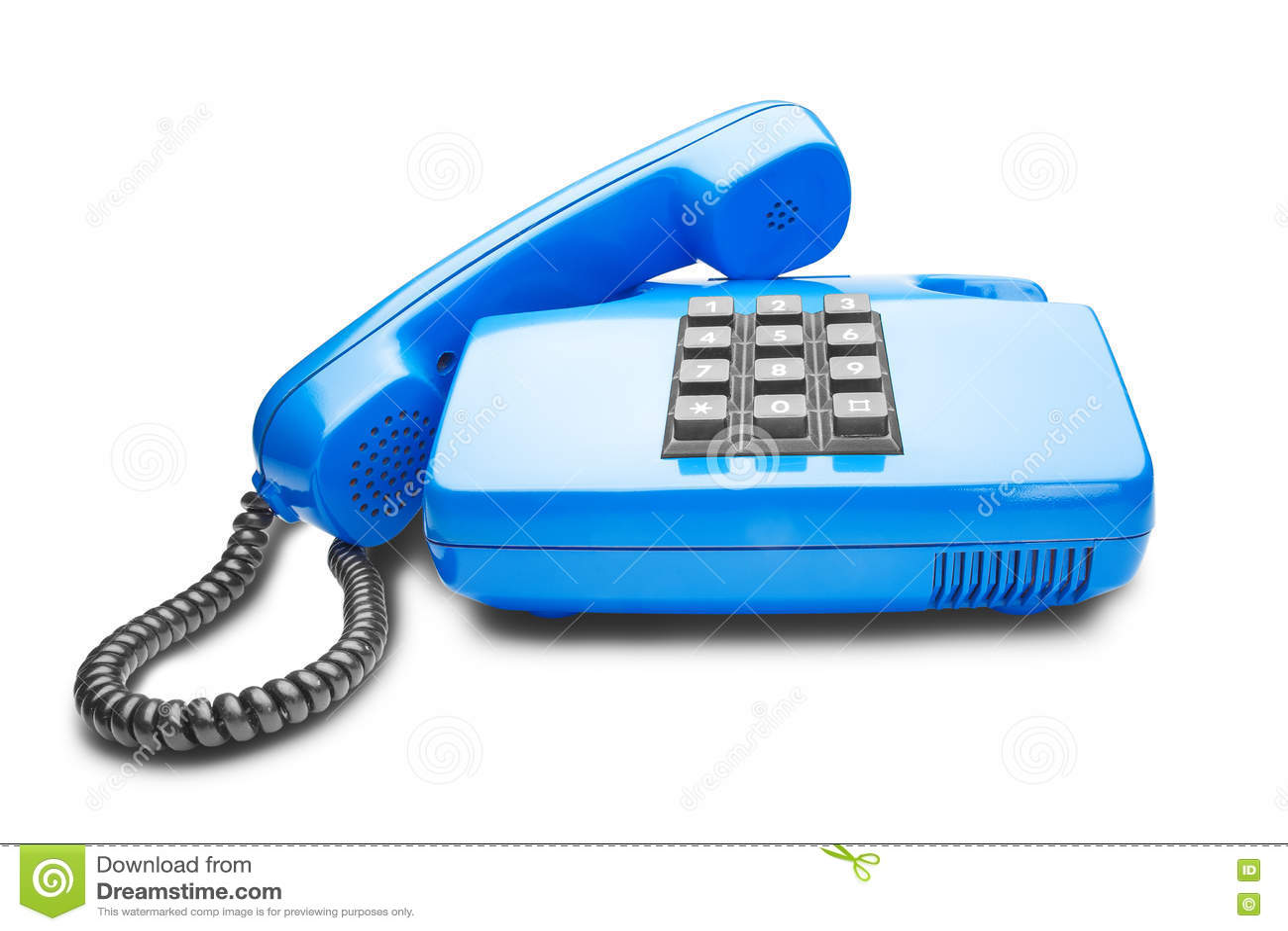 Handset Lies On A Blue Landline Phone Stock Photo - Image of