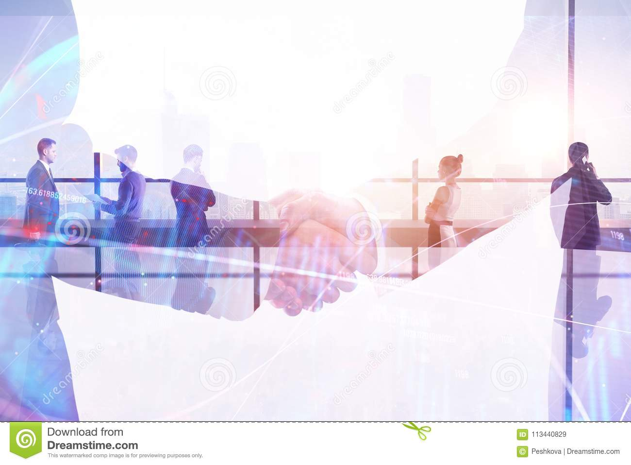 Handshake on abstract forex wallpaper. Teamwork and finance concept. Double exposure