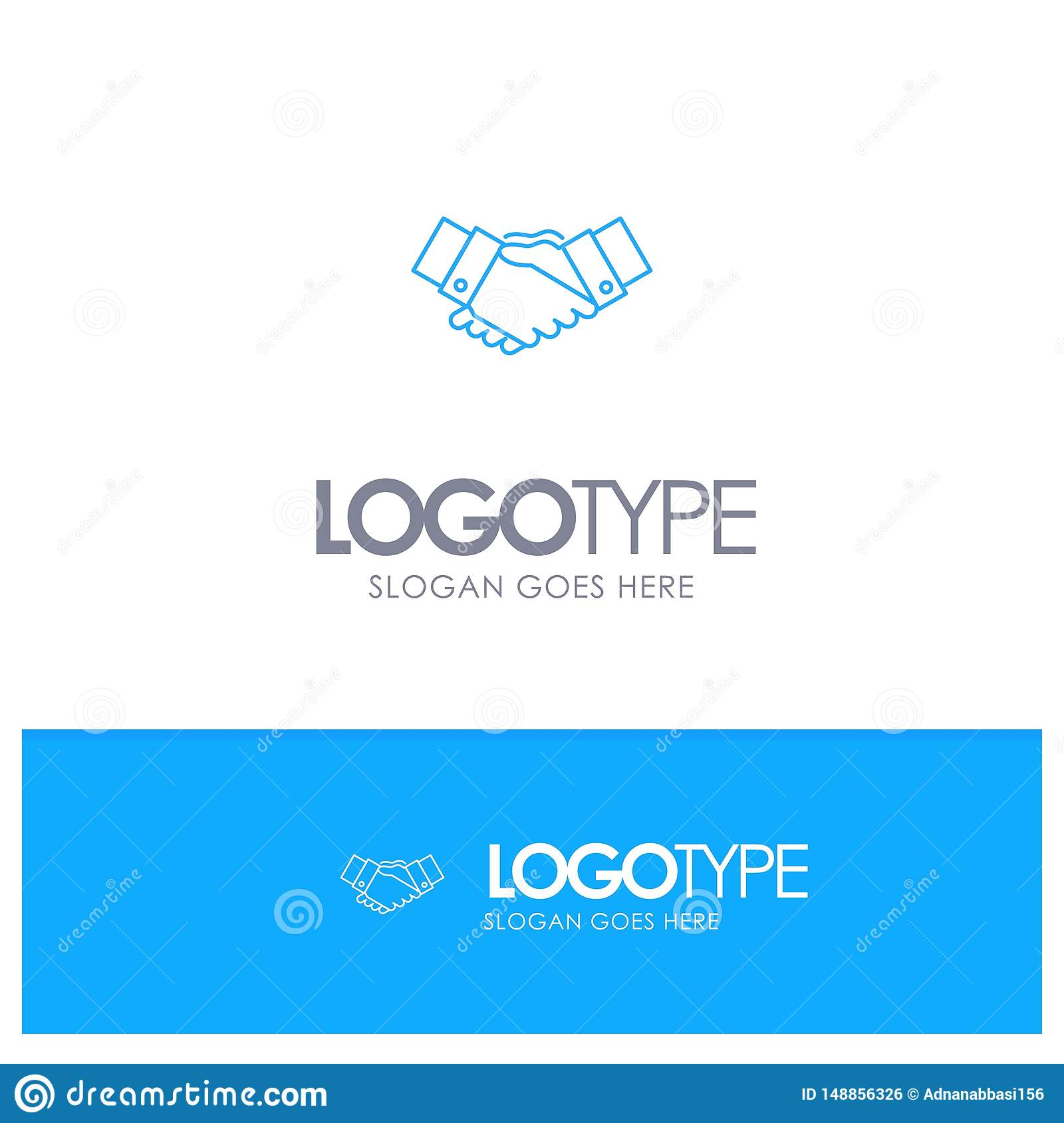 Handshake, Agreement, Business, Hands, Partners, Partnership Blue outLine Logo with place for tagline