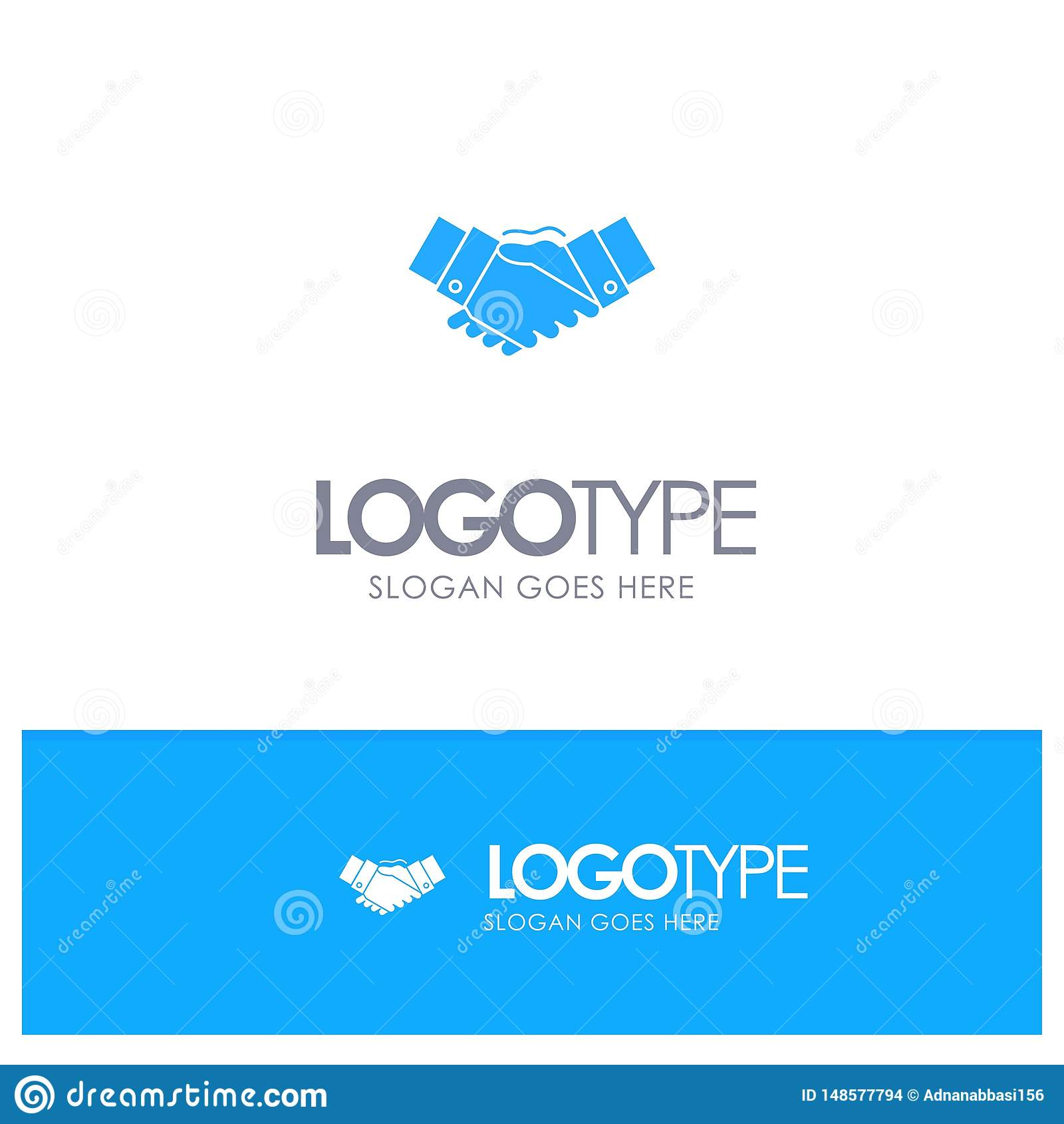 Handshake, Agreement, Business, Hands, Partners, Partnership Blue Solid Logo with place for tagline