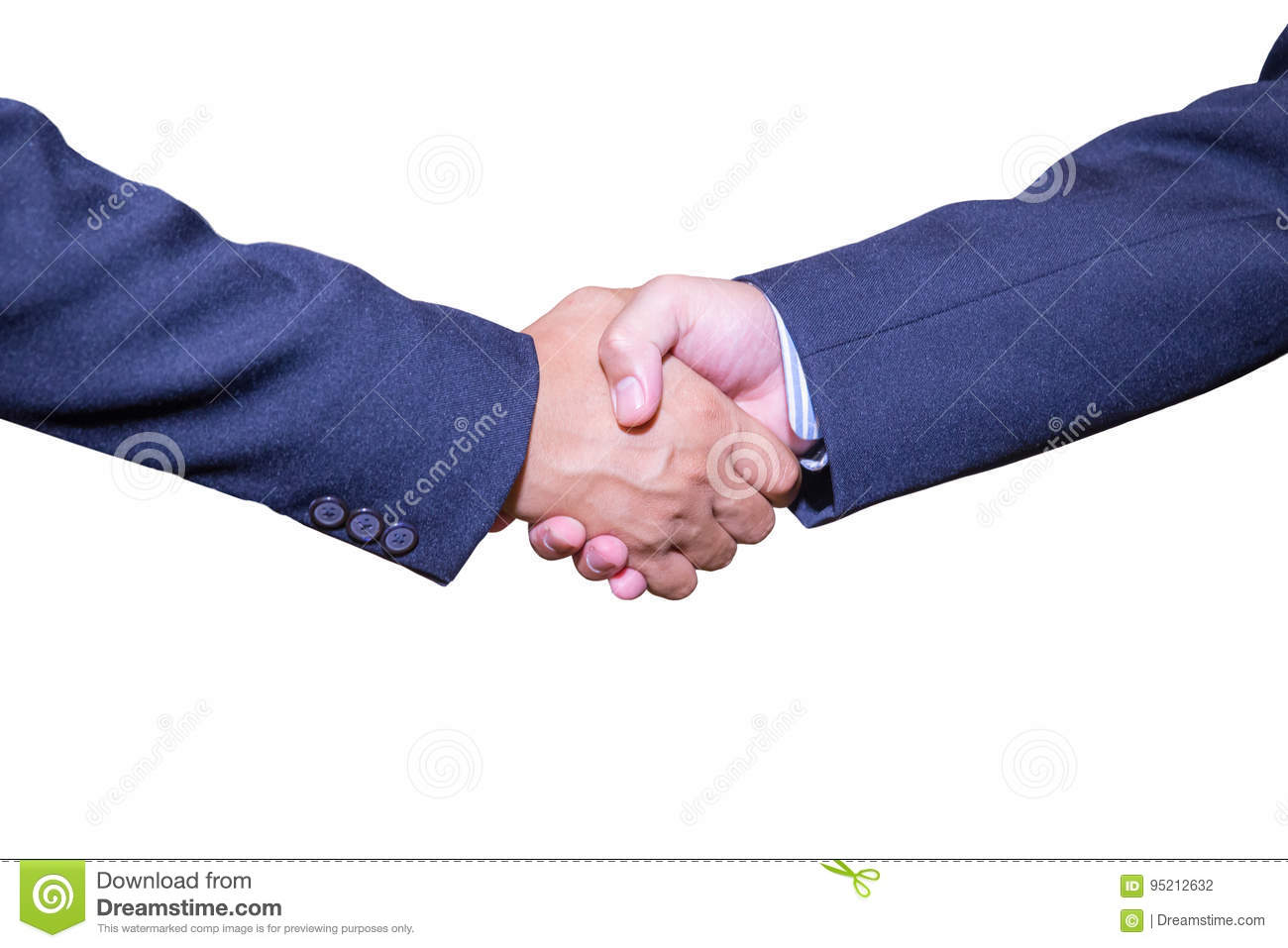 handshake and business people concepts. Two men shaking hands on white background.
