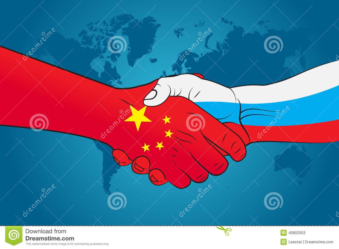 handshake china and russia stock vector