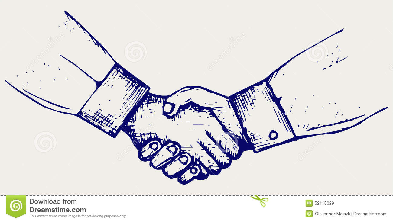 Handshake Stock Vector Illustration Of Friendly Draw 52110029