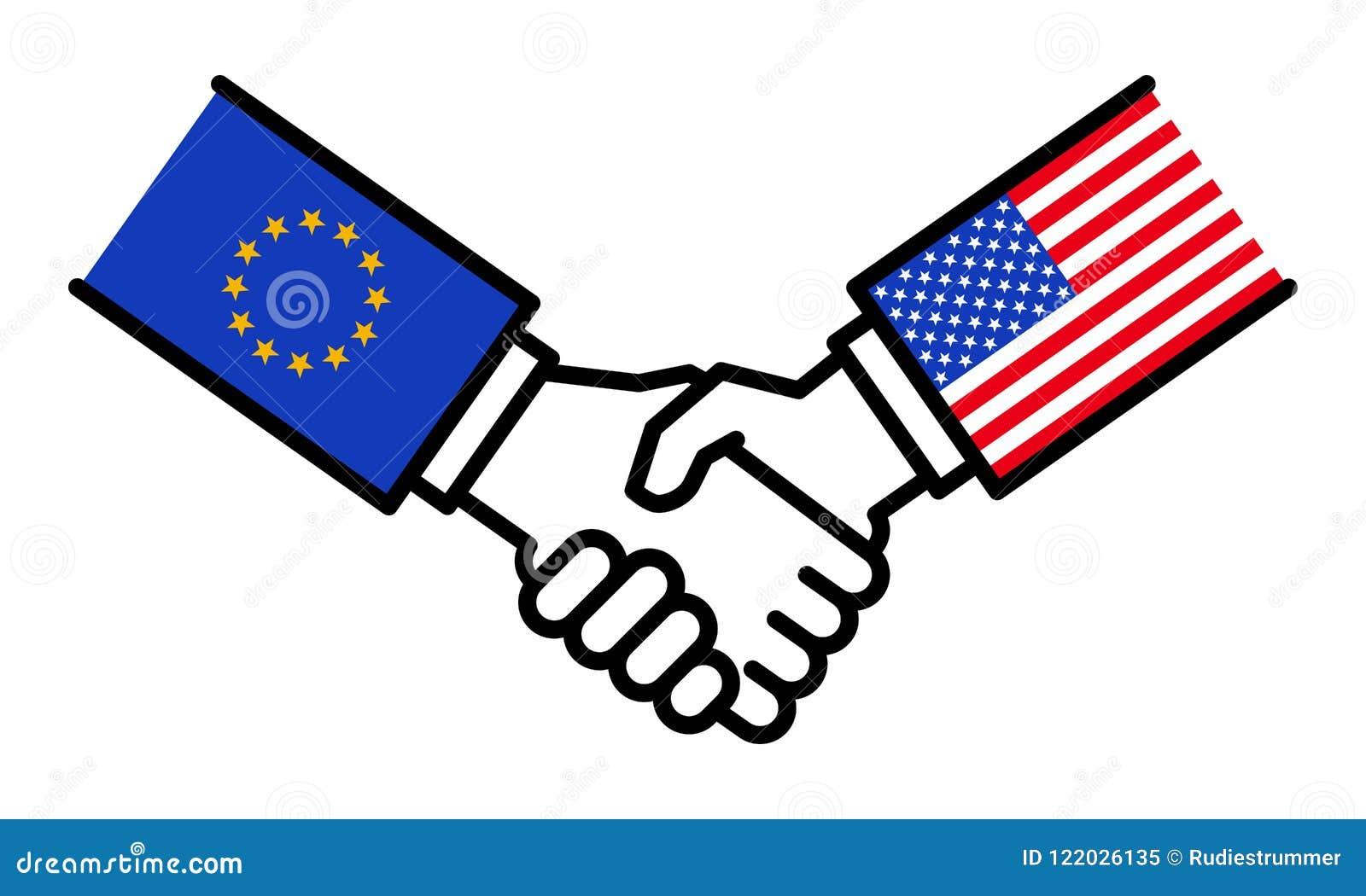 Handshake Eu Usa Agreement Alliance Business Deal Friendship