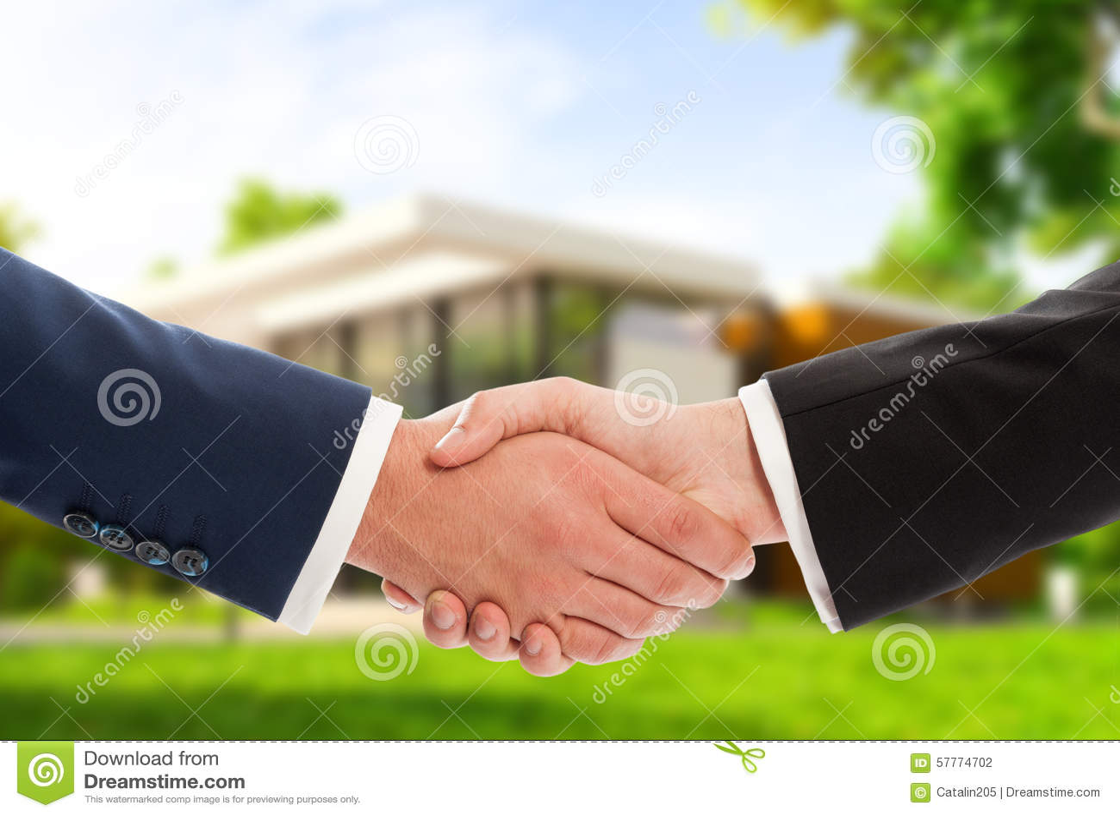 Handshake On House Outdoor Background Stock Photo Image