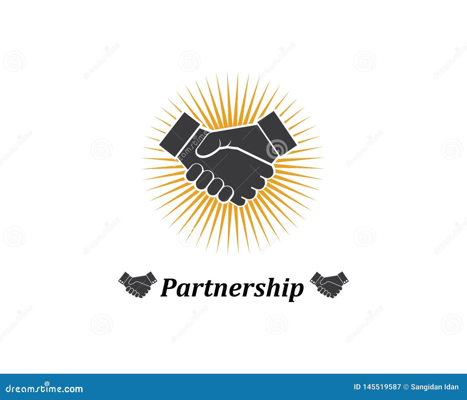 handshake logo vector icon of business
