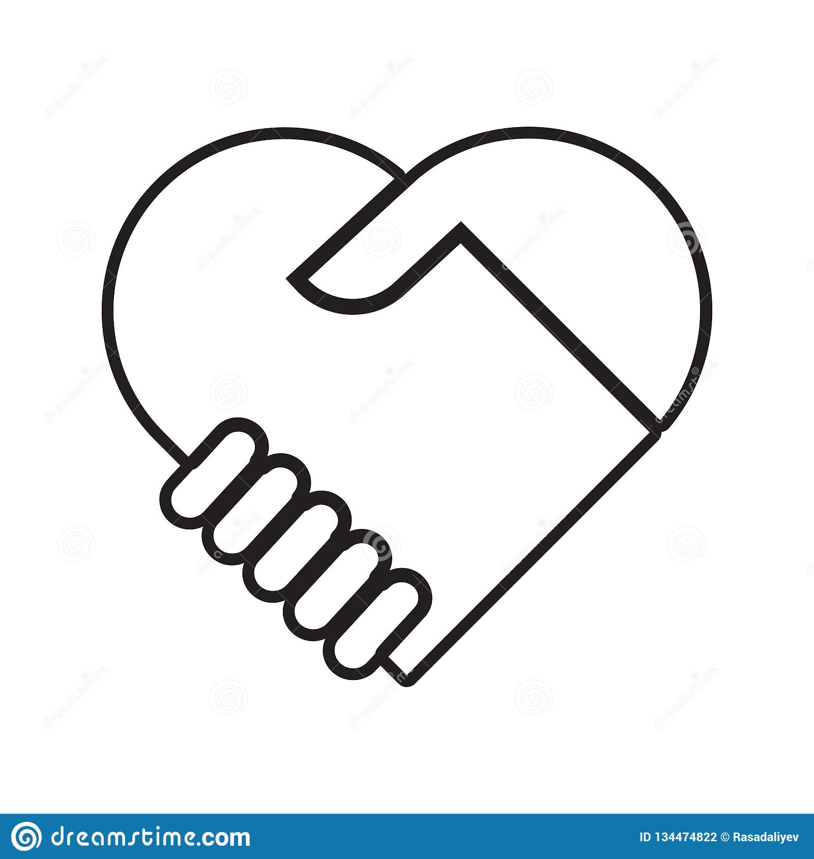 Handshake with love icon. Element of Conversation and Friendship for mobile concept and web apps icon. Thin line icon for website. Design and development, app vector illustration