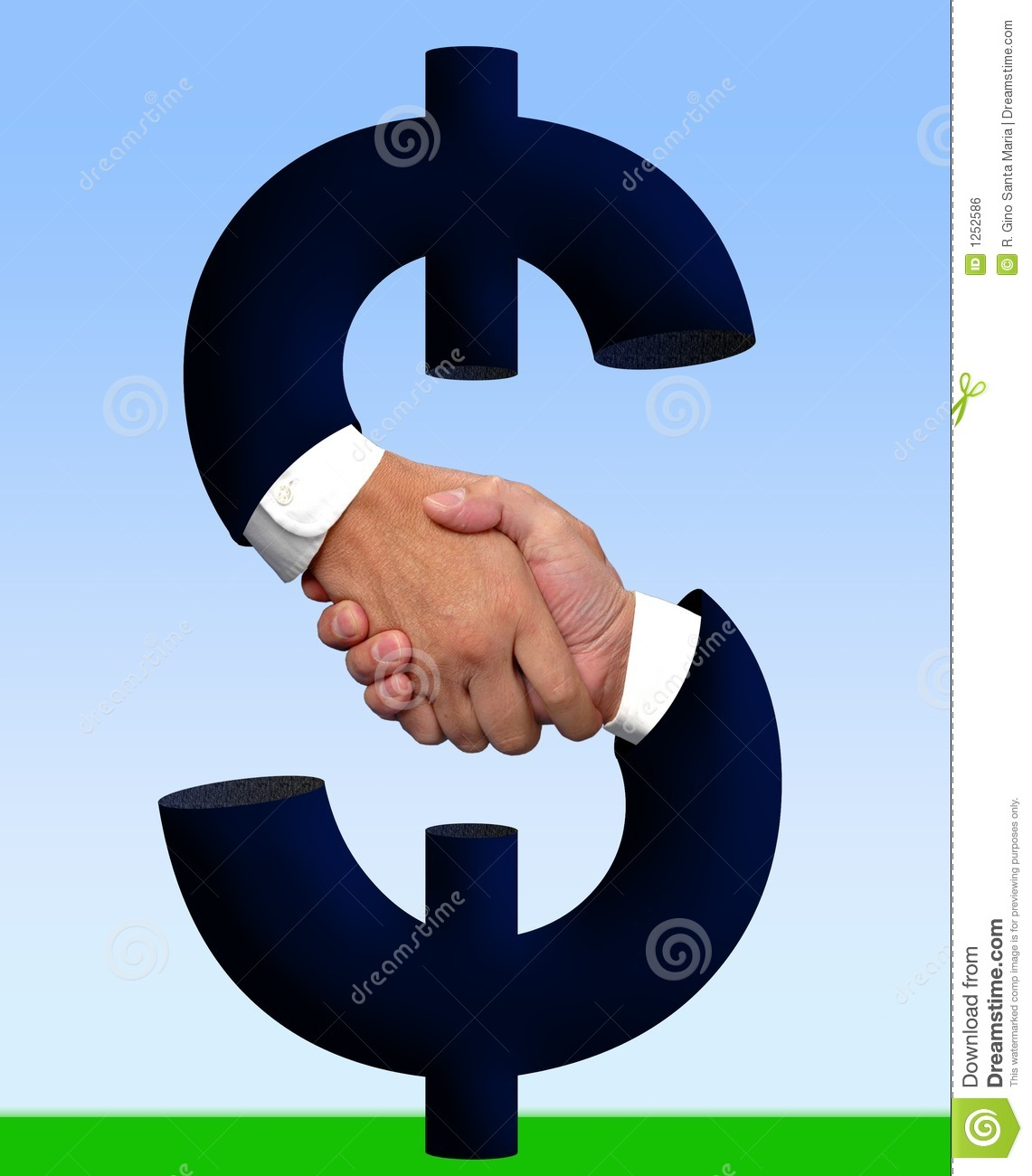 Royalty free stock image handshake with money sign with clipping